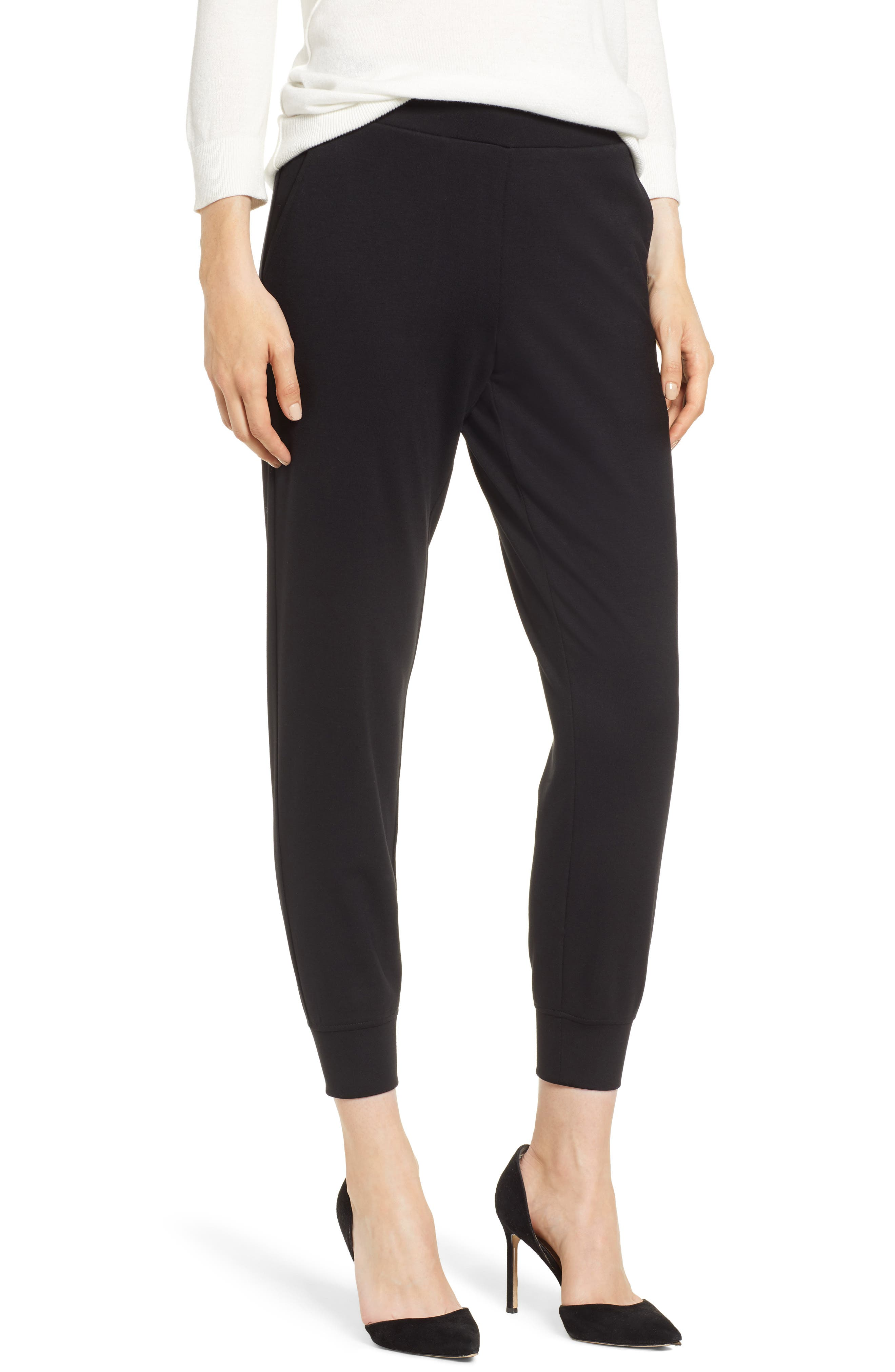 x Living in Yellow Shirley Ponte Jogger Pants, Main, color, BLACK