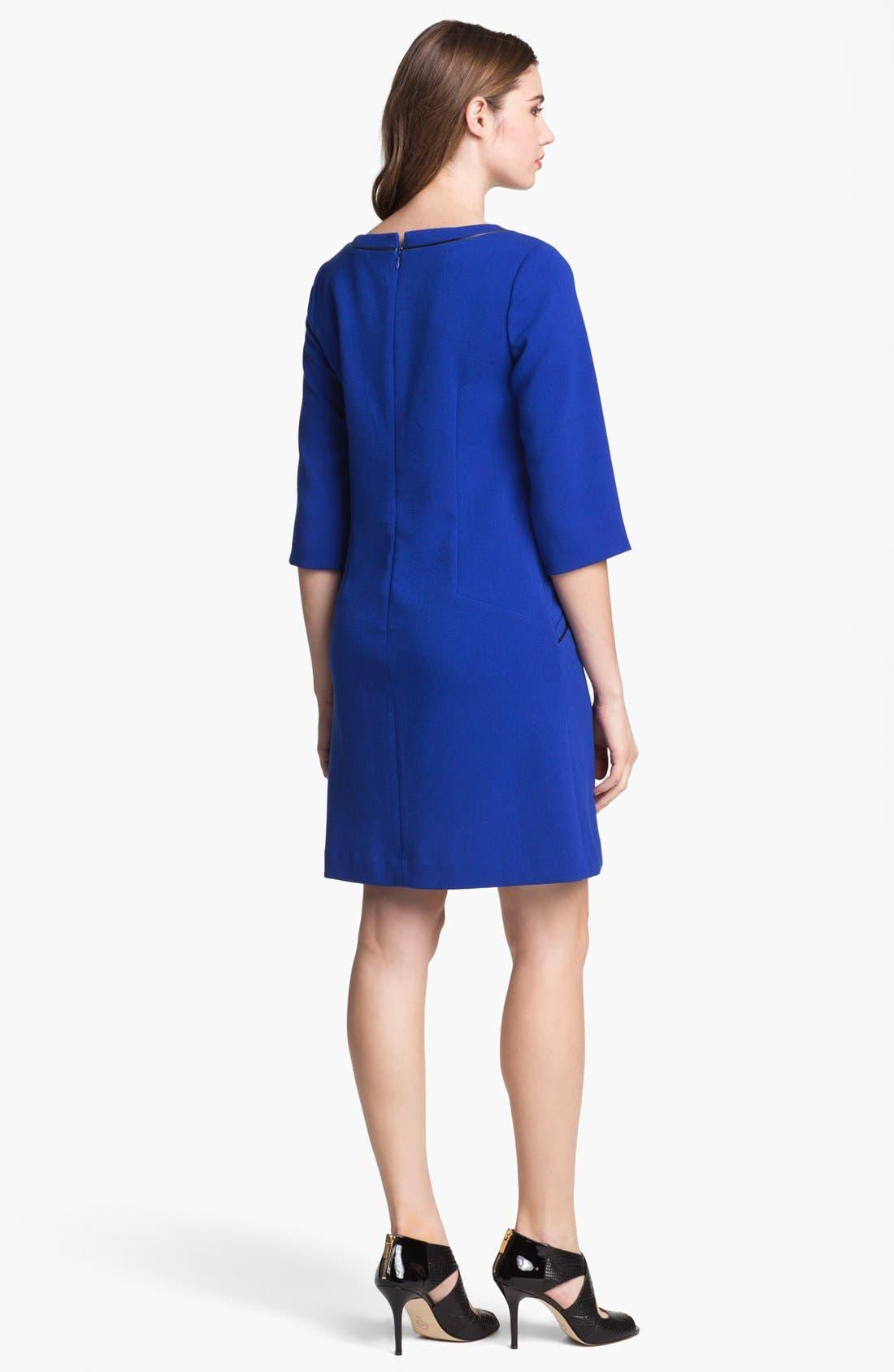 ELIZA J,                             Faux Leather Trim Ponte Shift Dress,                             Alternate thumbnail 5, color,                             432