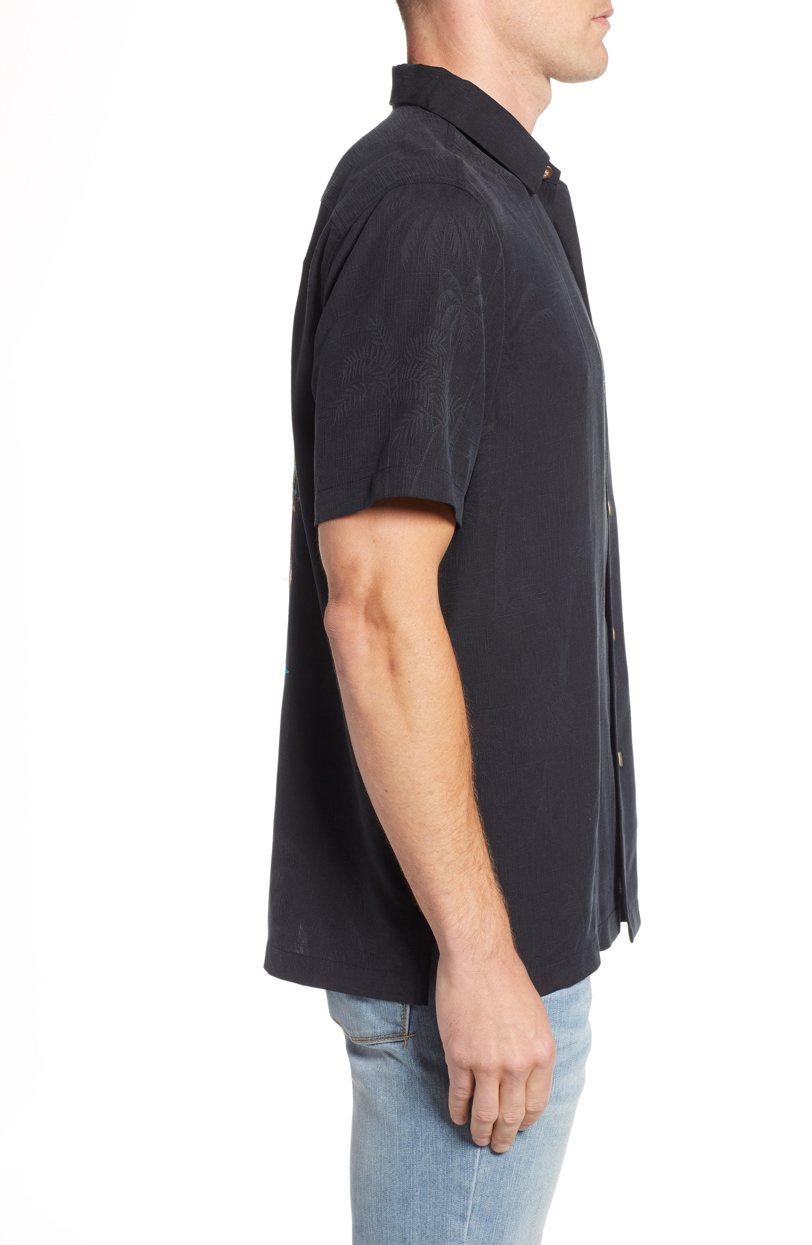 Wish Yule Were Here Silk Camp Shirt,                             Alternate thumbnail 3, color,                             BLACK