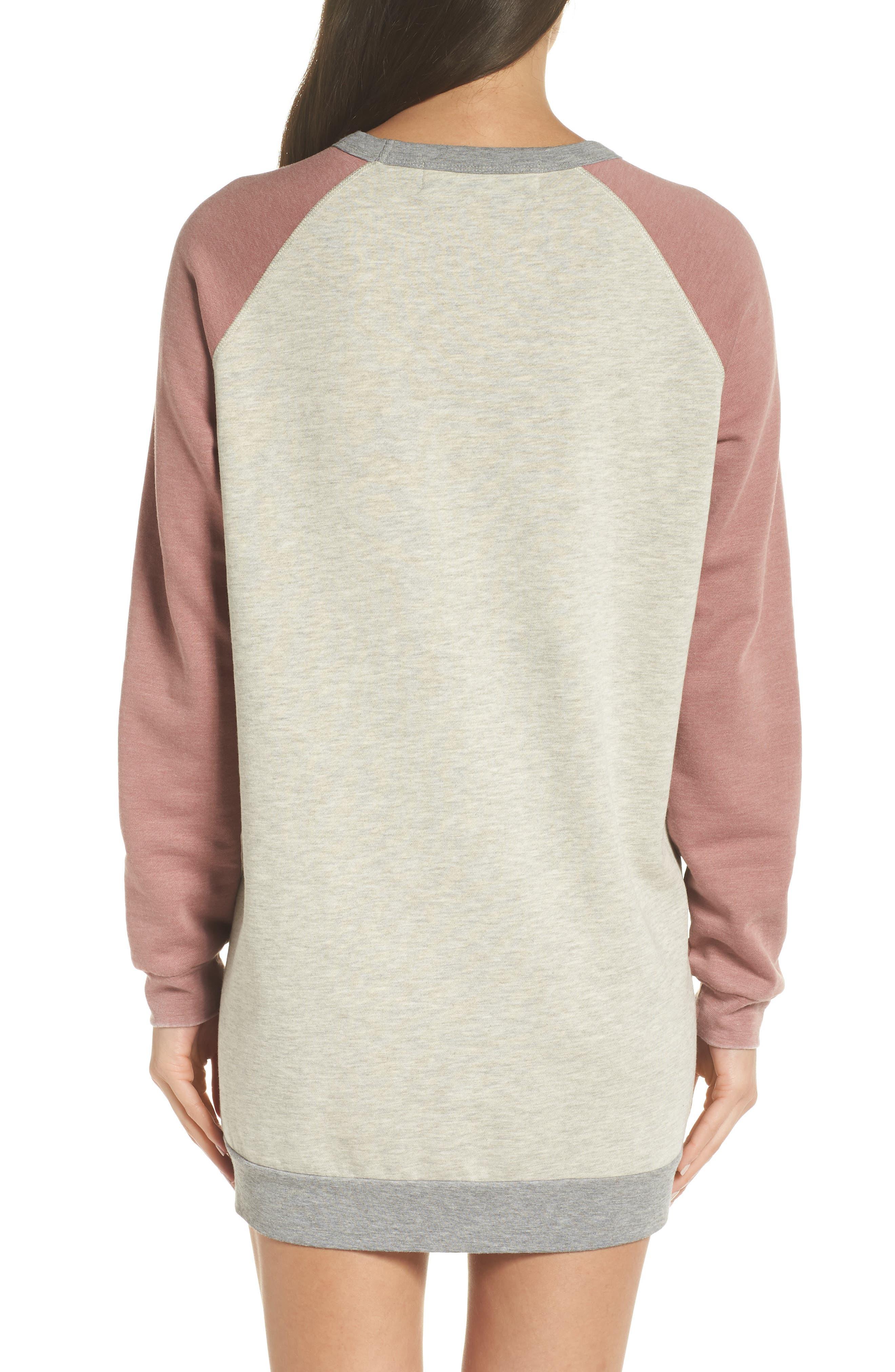 Lounge Sweatshirt Dress,                             Alternate thumbnail 2, color,                             PEBBLE HEATHER / MAUVE