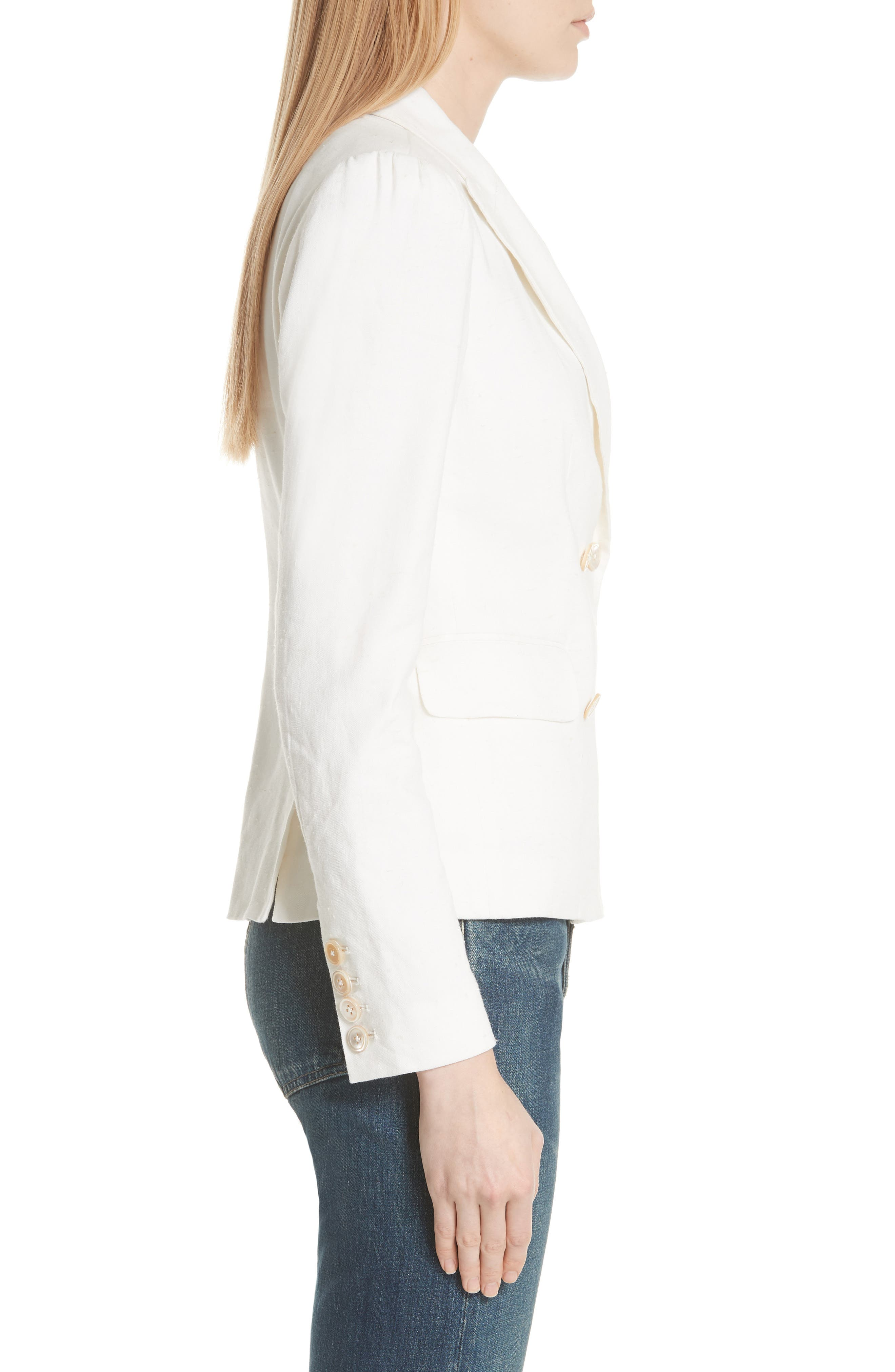 Stretch Linen Blend Blazer,                             Alternate thumbnail 3, color,                             115