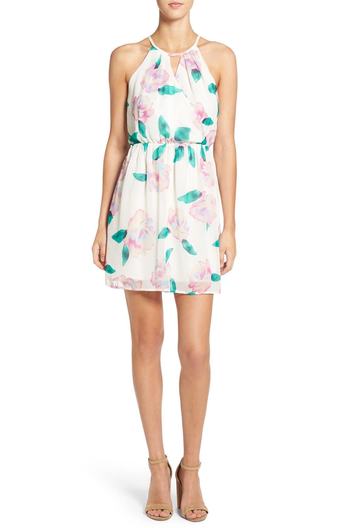 Floral Print A-Line Dress, Main, color, 110
