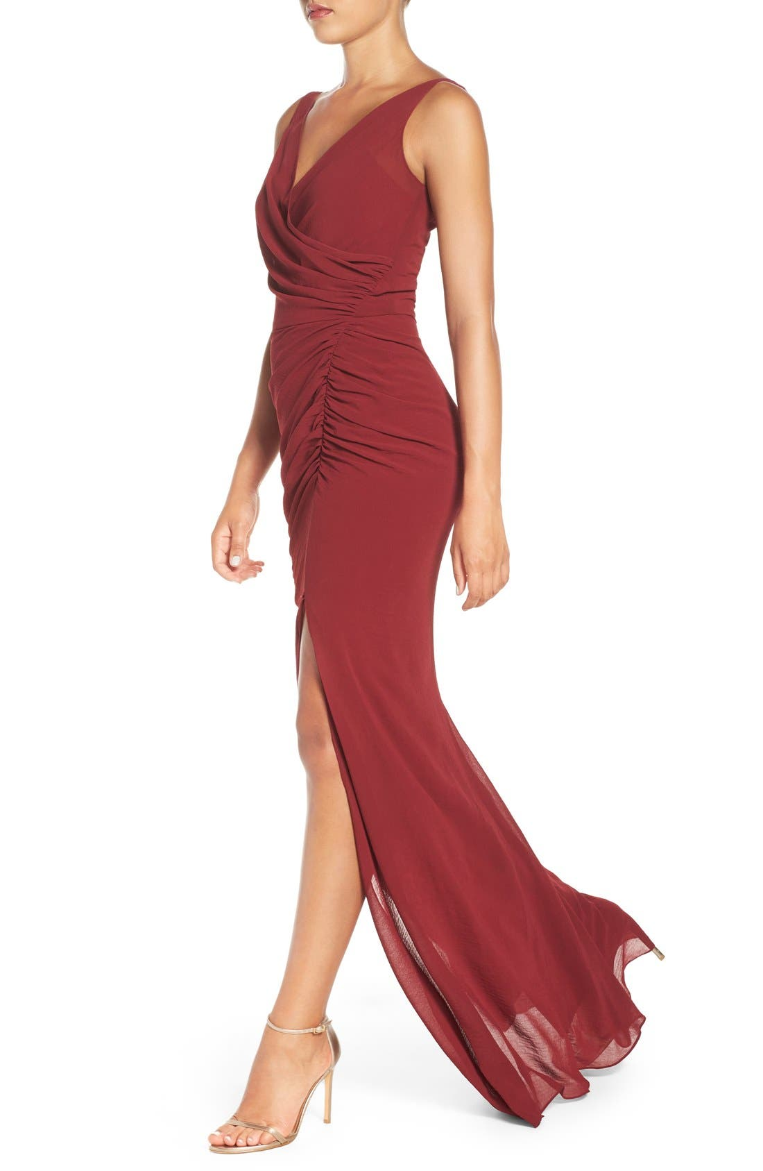 Wrap Front Chiffon Gown,                             Alternate thumbnail 10, color,