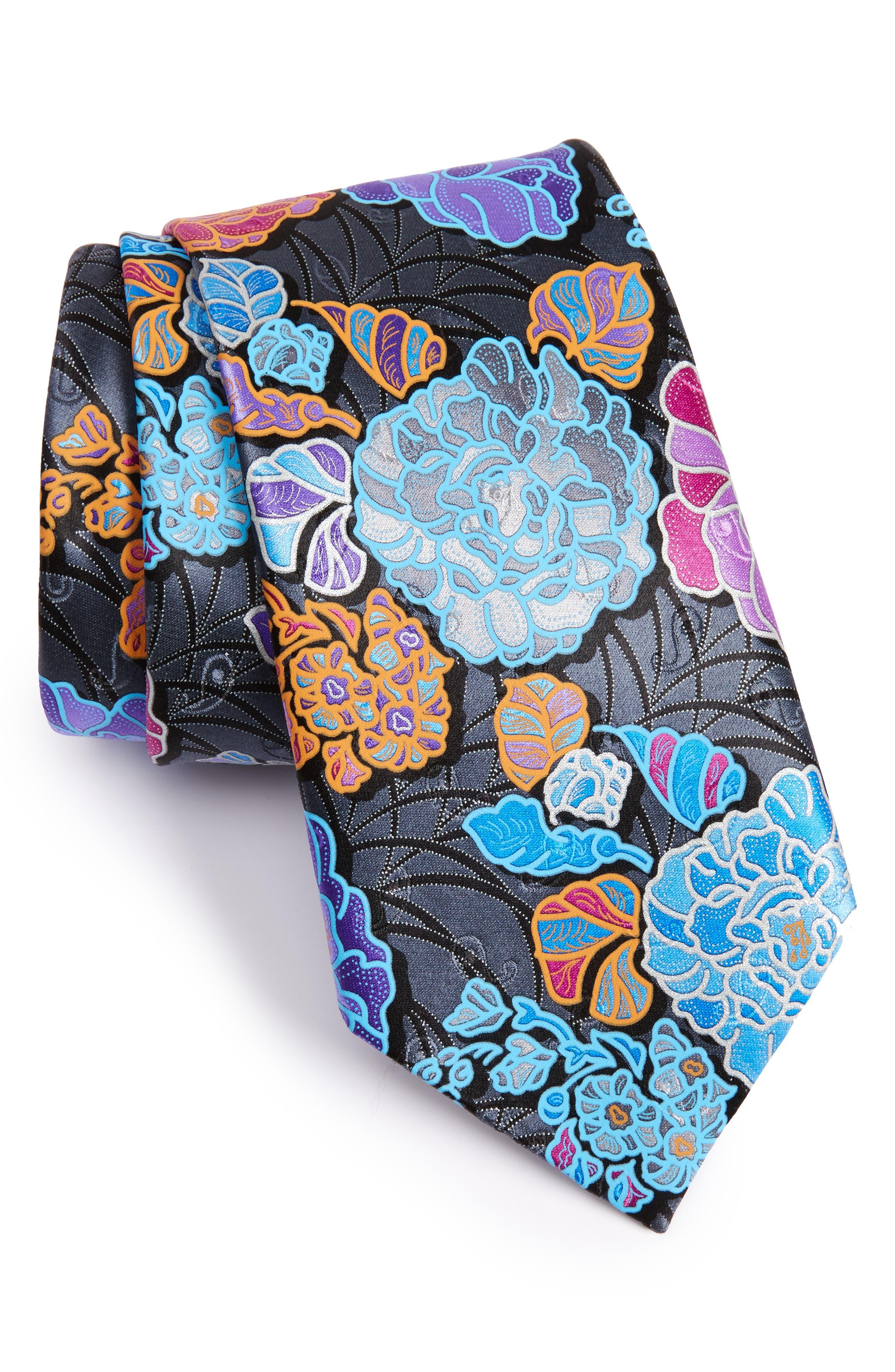 Quindici Floral Silk Tie,                             Main thumbnail 1, color,                             008