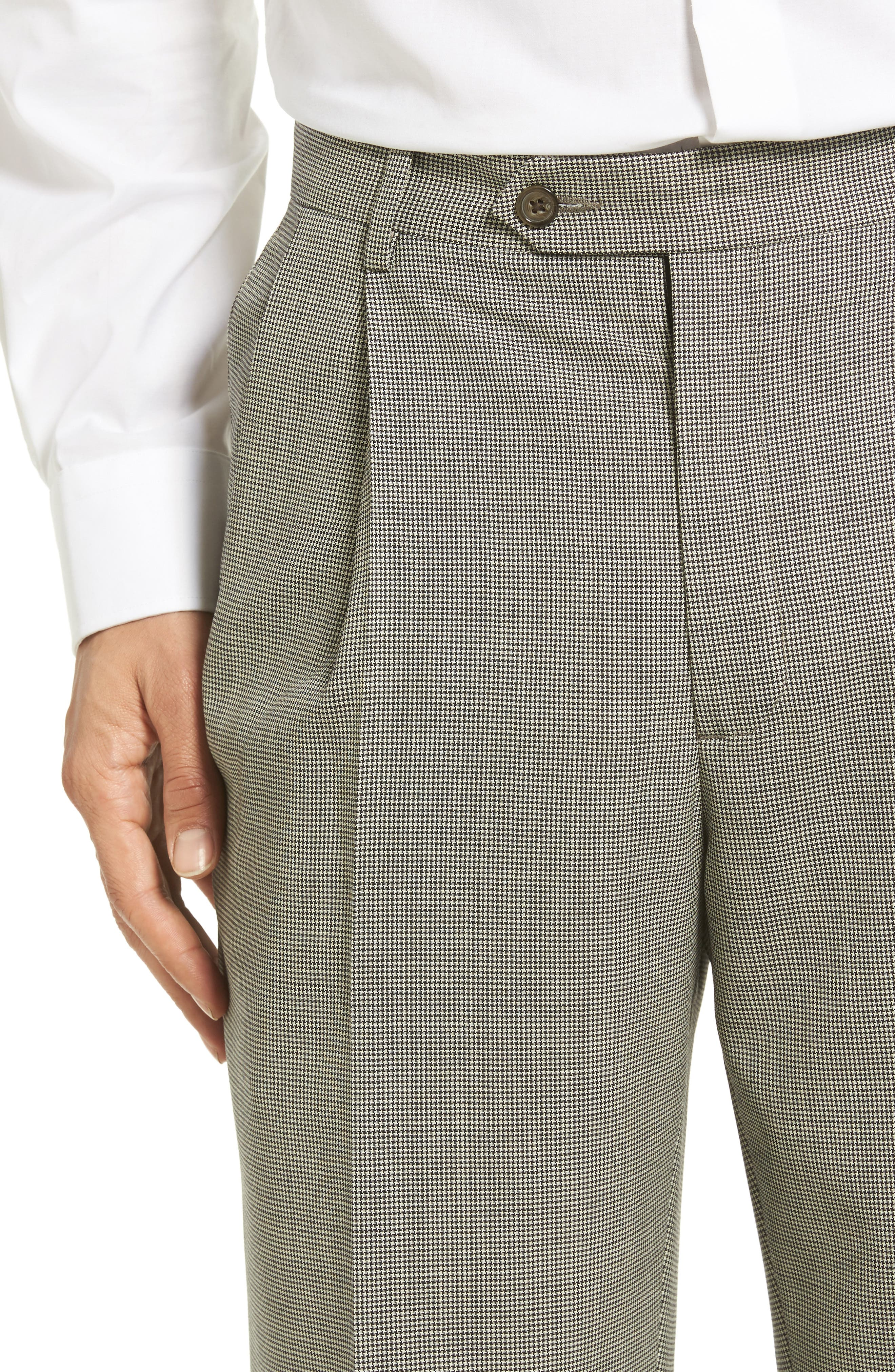Pleated Houndstooth Wool Trousers,                             Alternate thumbnail 5, color,                             020