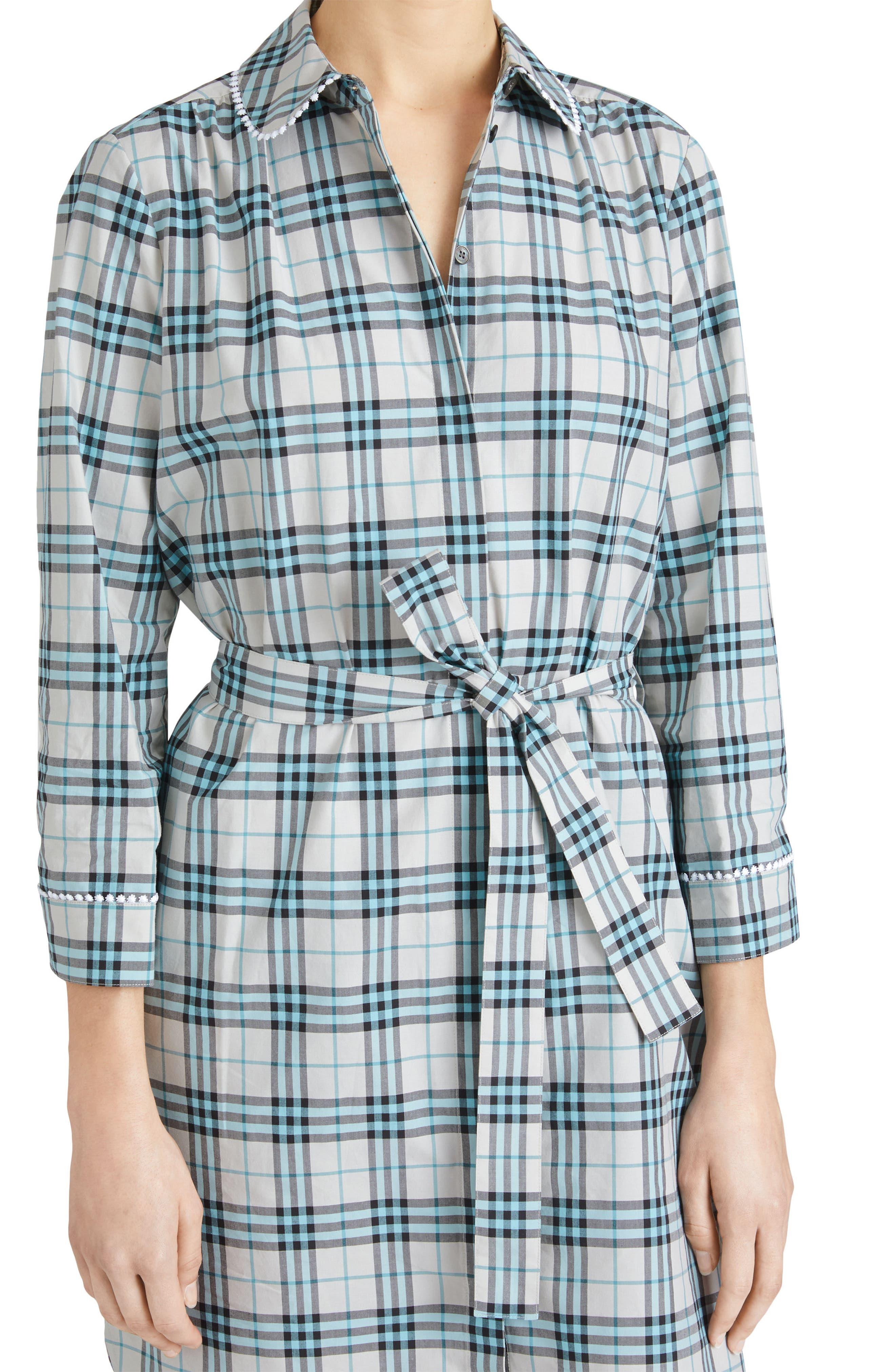 Agna Check Shirtdress,                             Alternate thumbnail 4, color,                             275