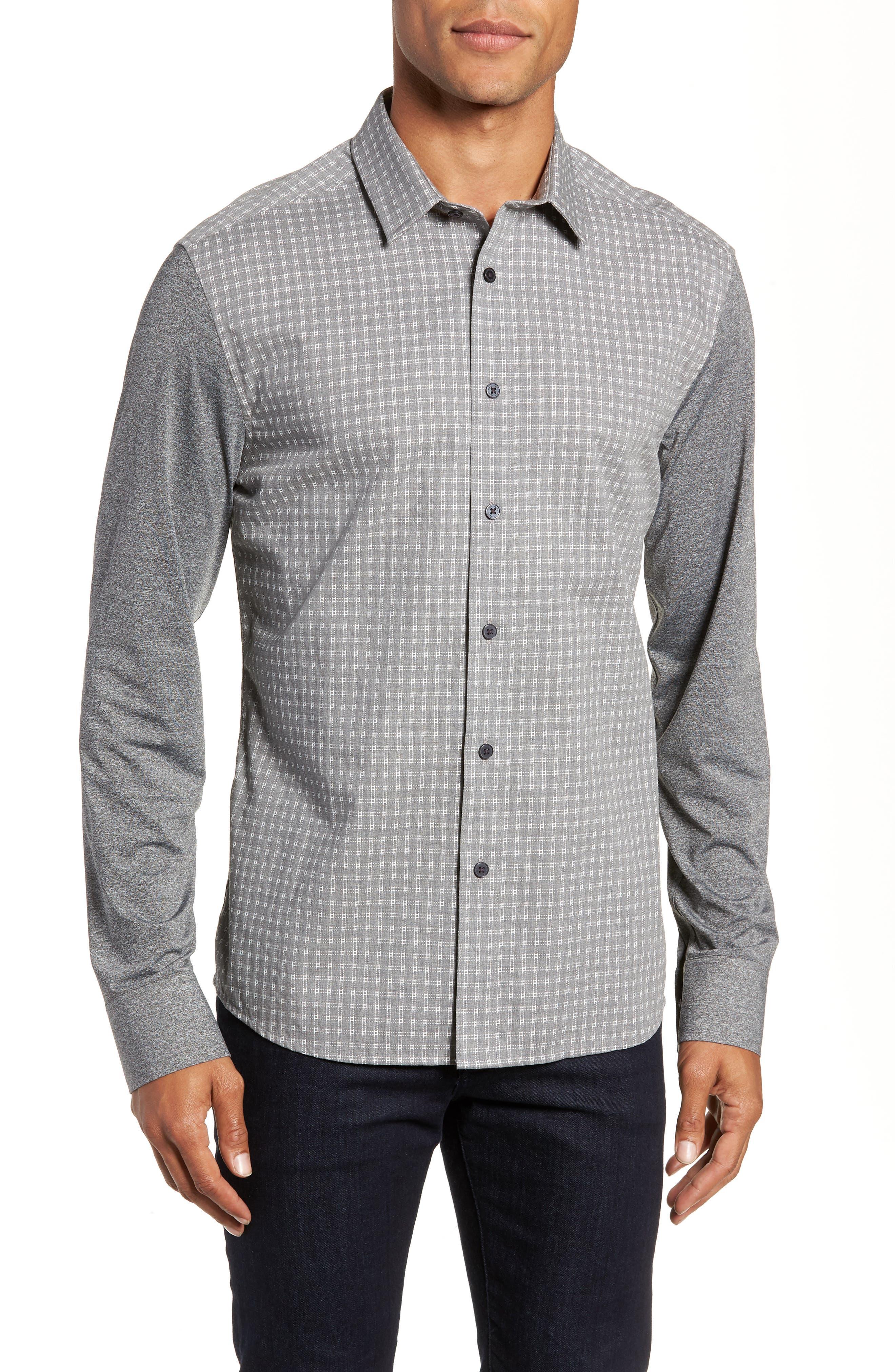 VINCE CAMUTO,                             Slim Fit Mixed Media Sport Shirt,                             Main thumbnail 1, color,                             034