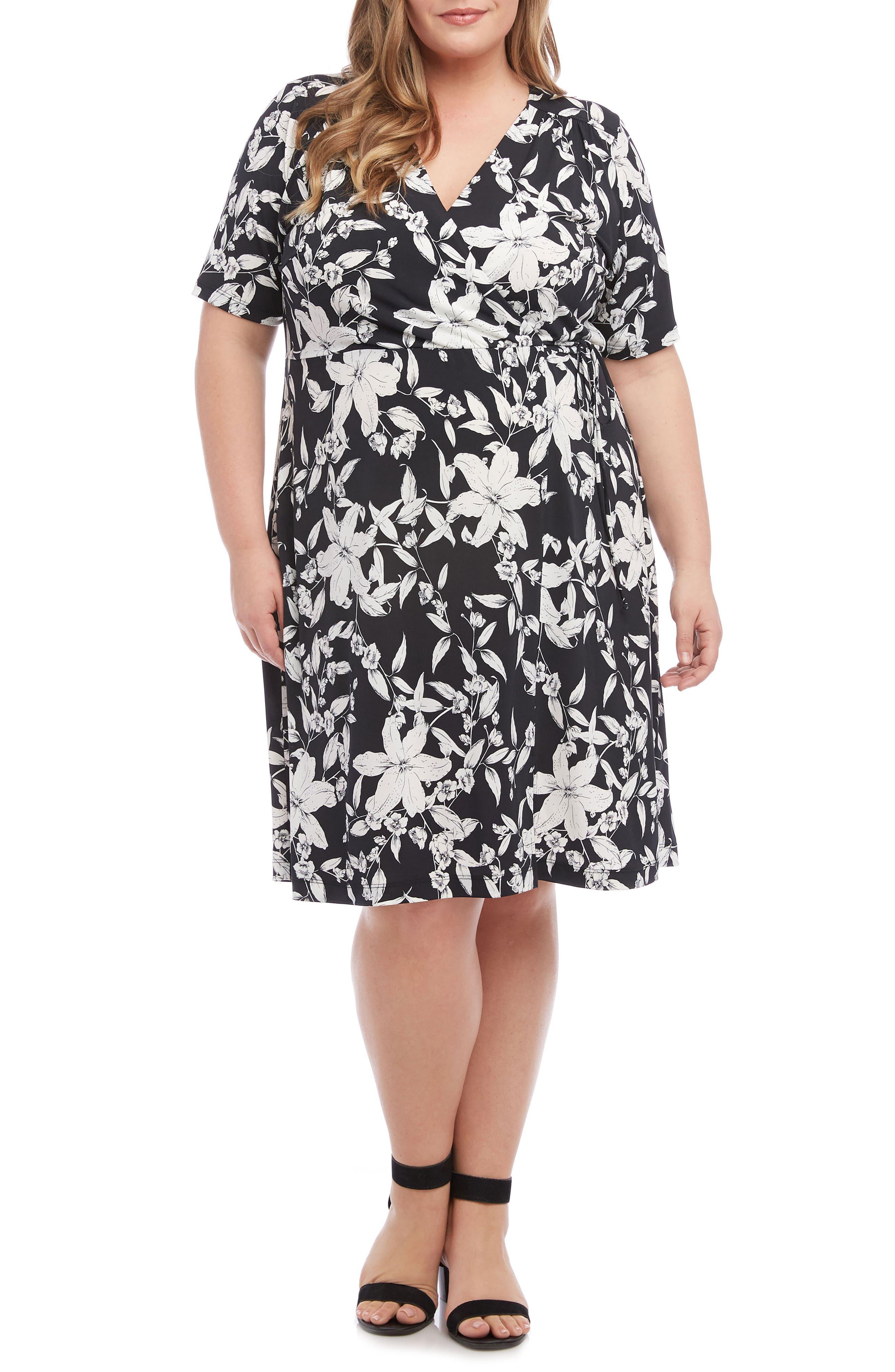 Plus Size Karen Kane Faux Wrap Dress, Black