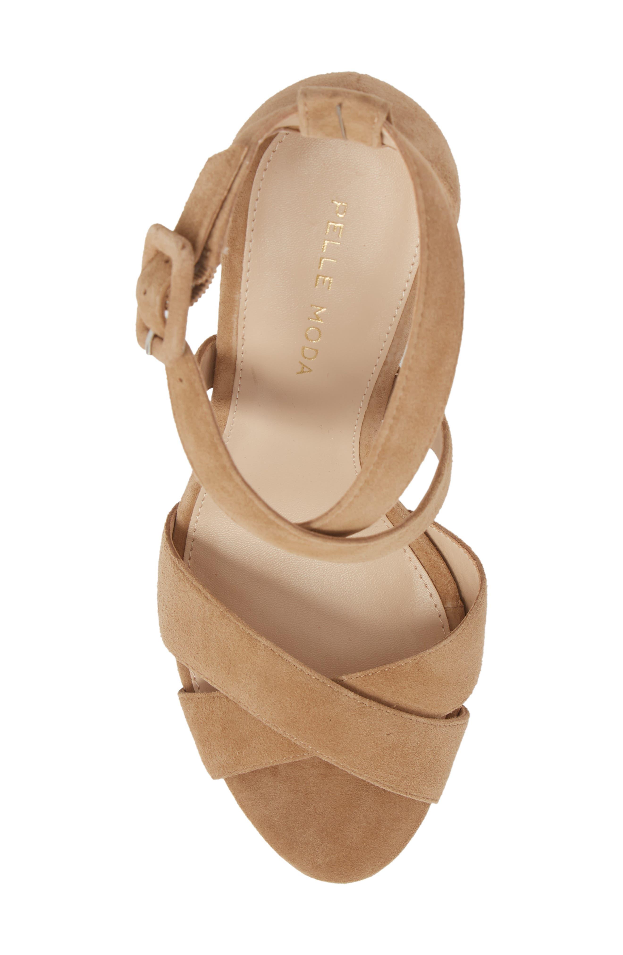 Panama Platform Sandal,                             Alternate thumbnail 5, color,                             LATTE SUEDE