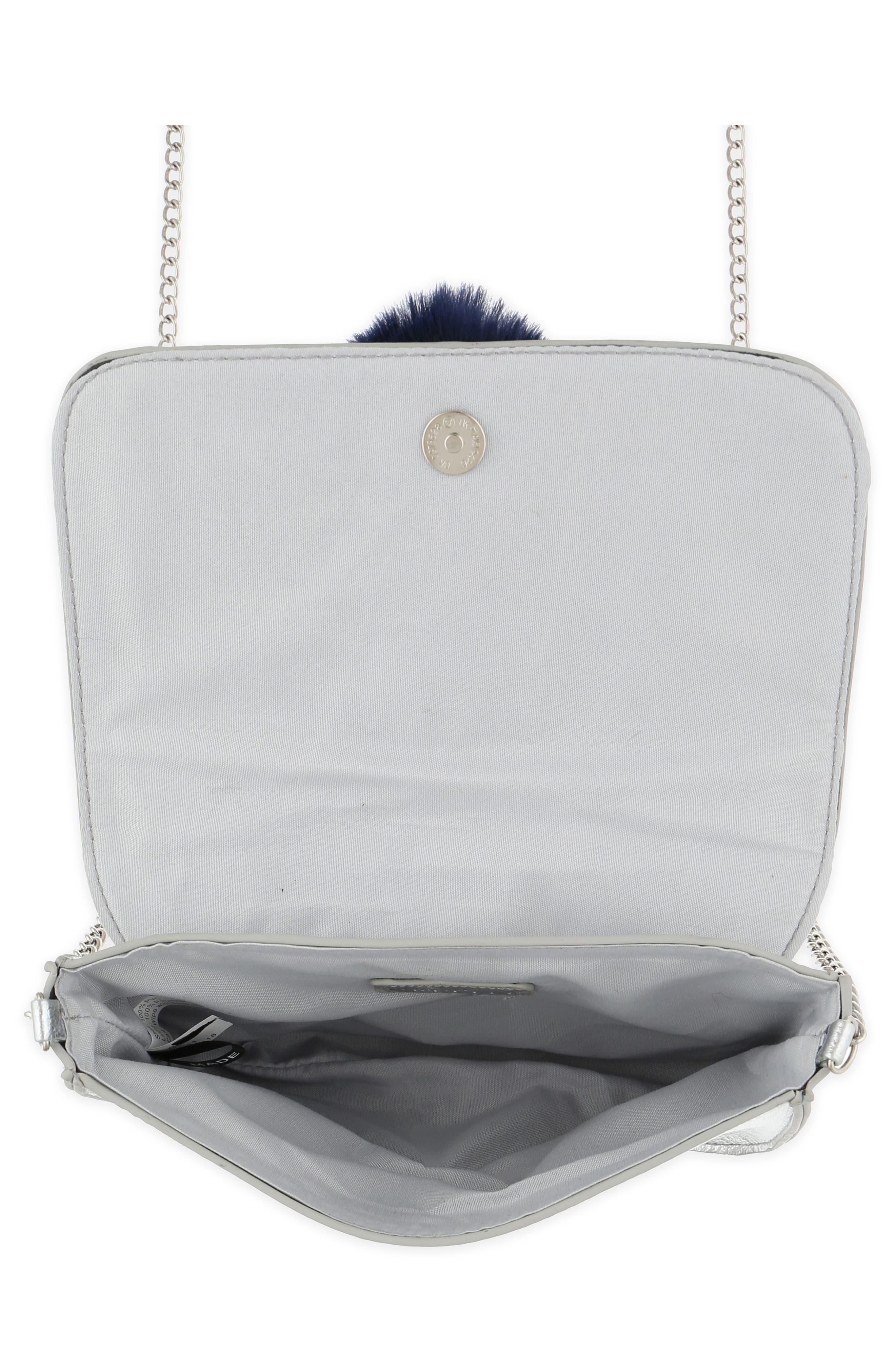 Metallic Pom Shoulder Bag,                             Alternate thumbnail 3, color,                             SILVER COMBO