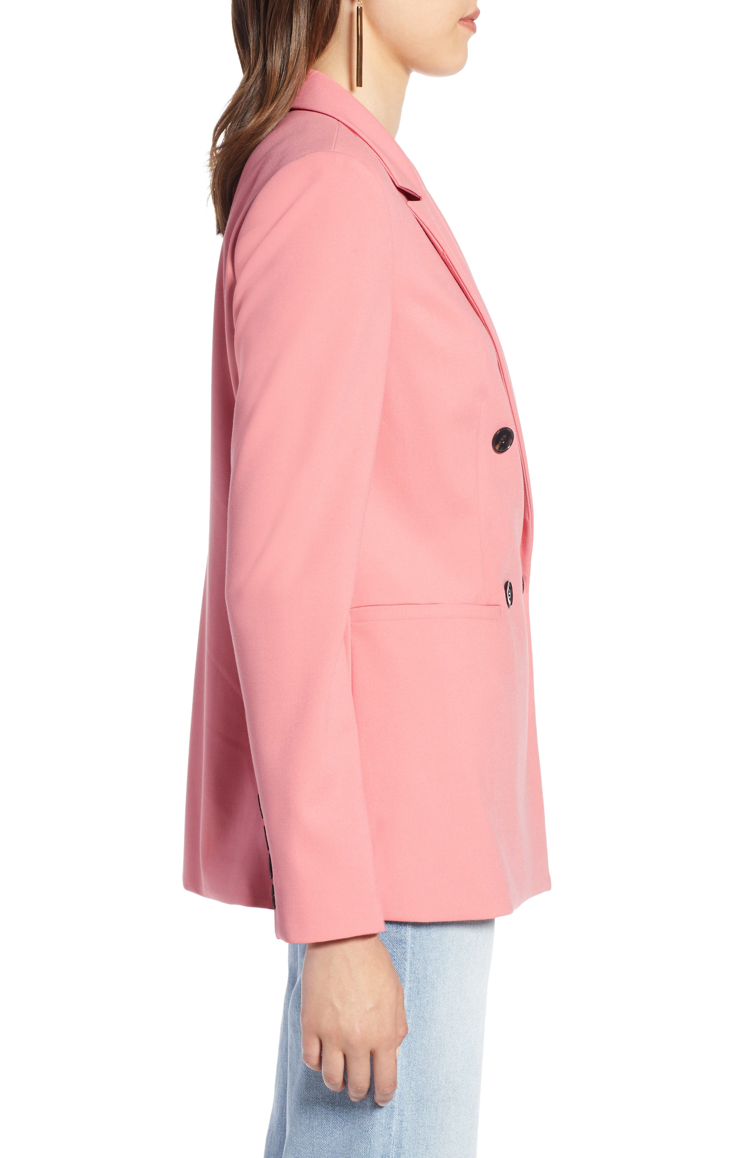 Double Breasted Blazer,                             Alternate thumbnail 3, color,                             CORAL MAUVE