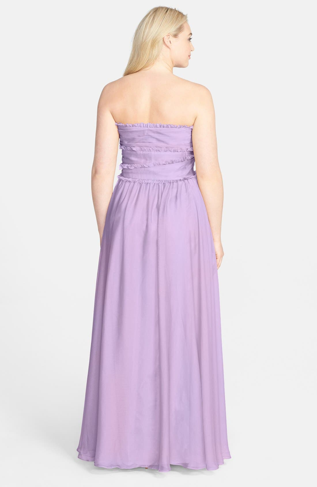 ML Monique Lhuillier Bridesmaids Strapless Chiffon Gown,                             Alternate thumbnail 53, color,