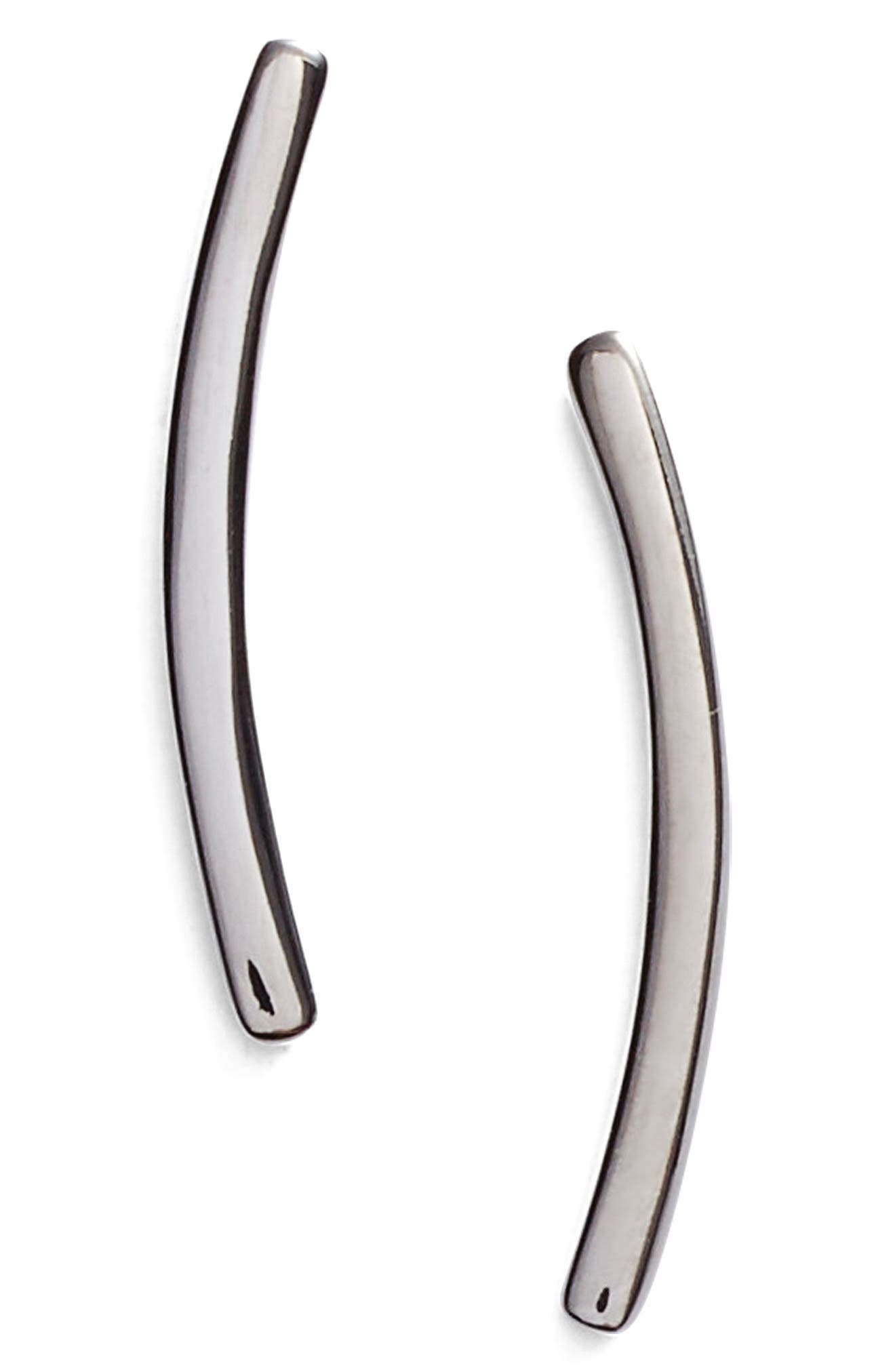 Curved Bar Stud Earrings,                             Alternate thumbnail 2, color,                             BLACK