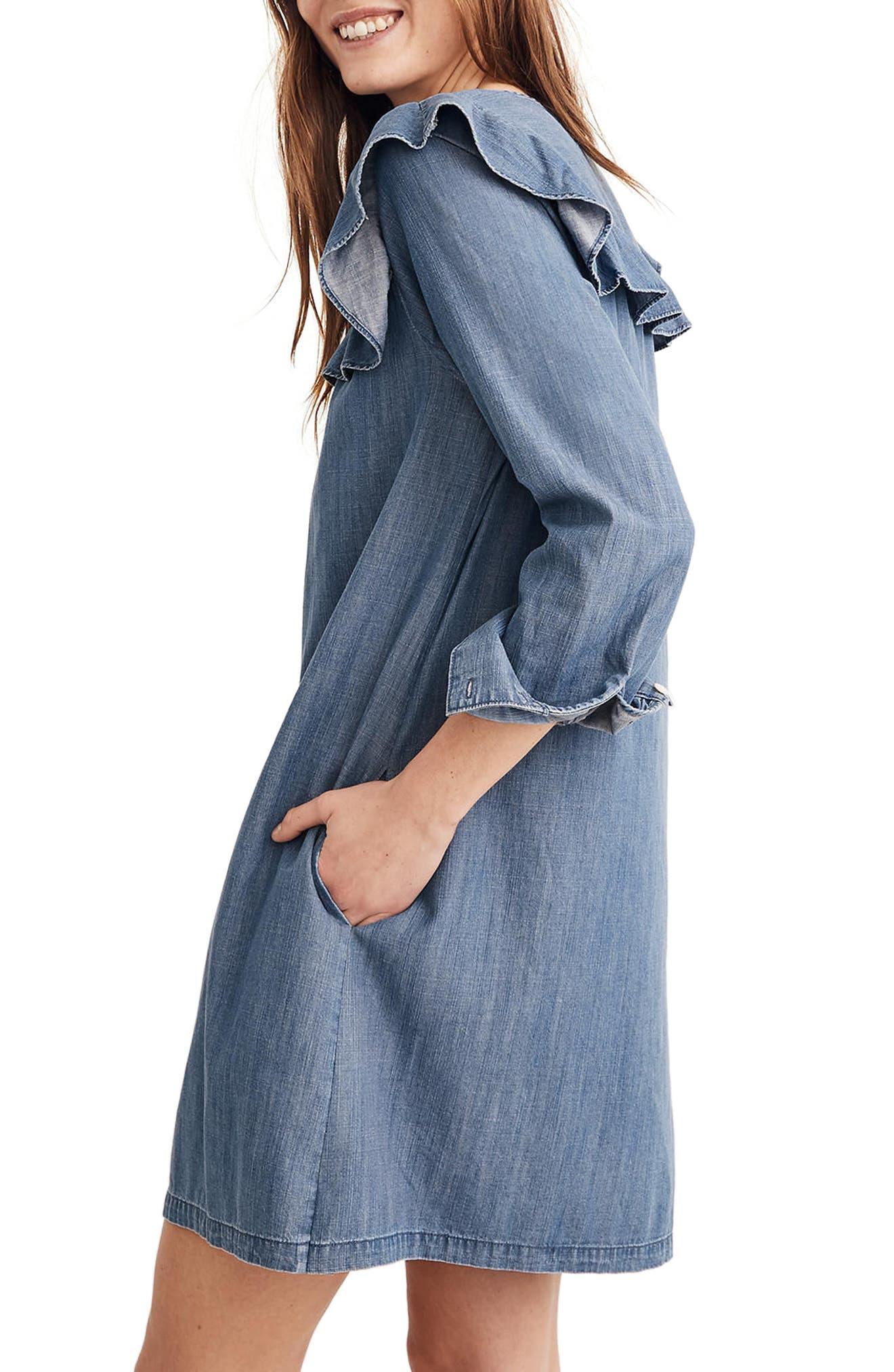 Ruffle Yoke Chambray Shirtdress,                             Alternate thumbnail 3, color,                             400
