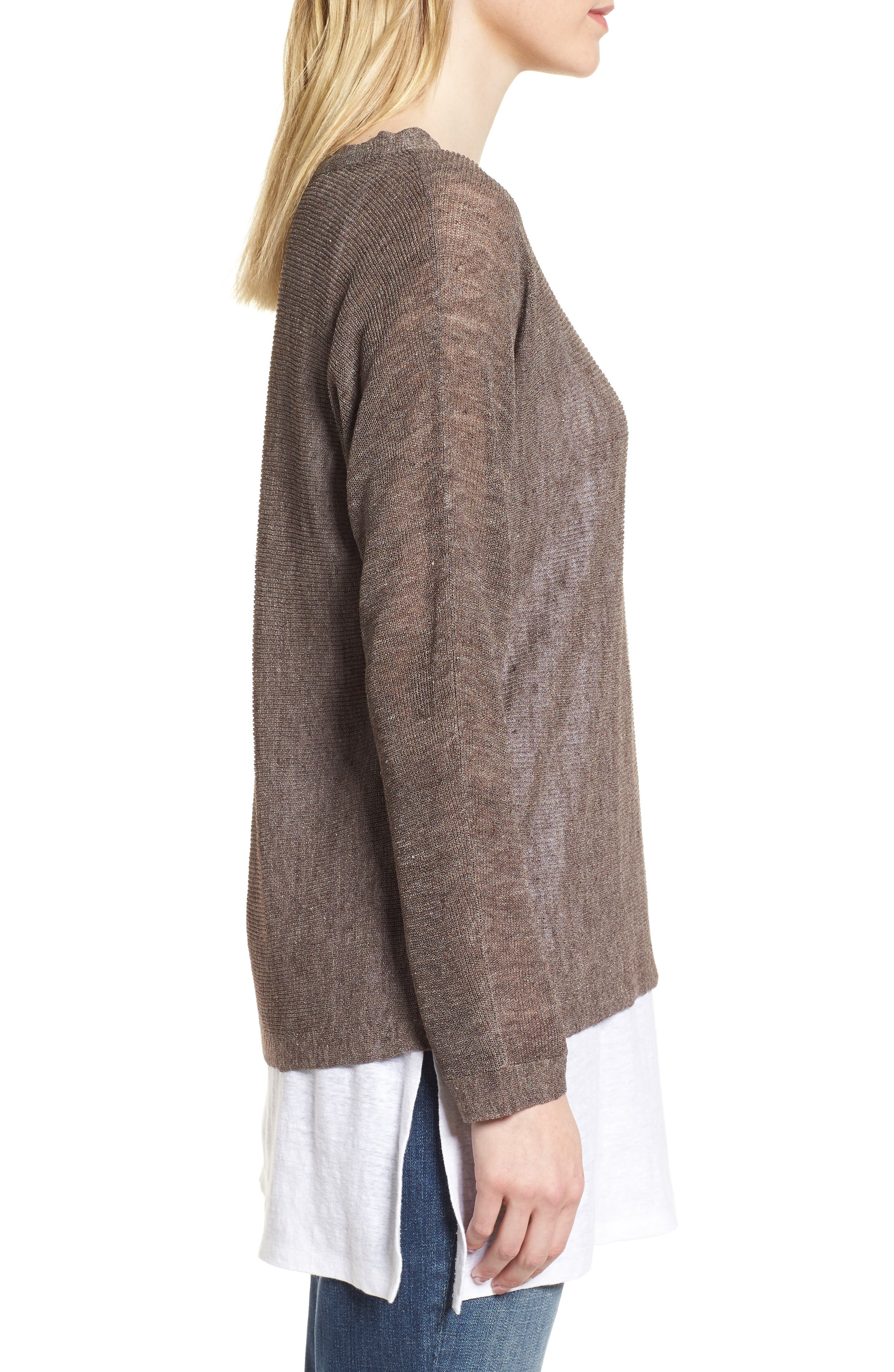 Linen Blend Sweater,                             Alternate thumbnail 3, color,                             024