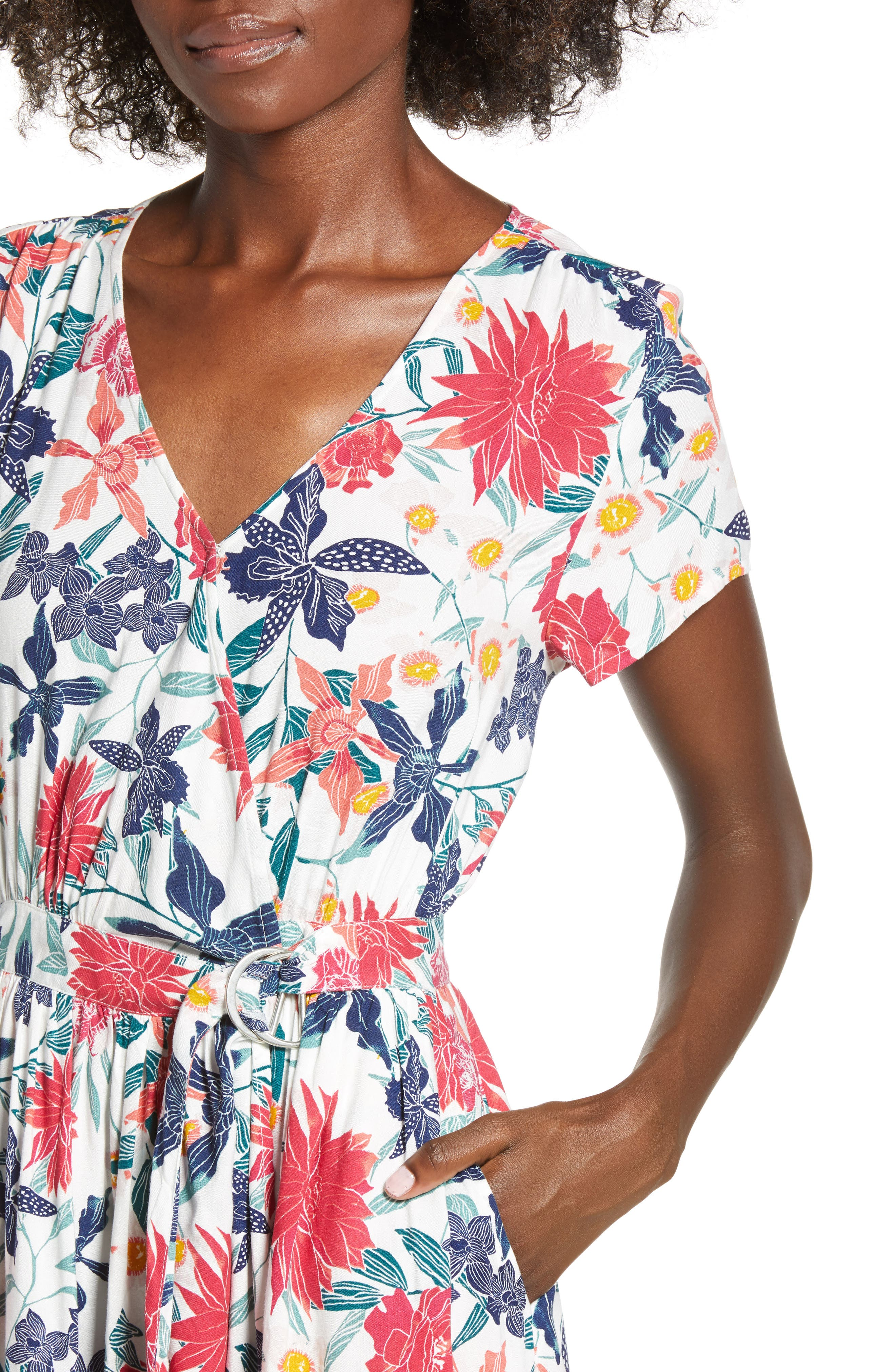 District Nights Floral Print Dress,                             Alternate thumbnail 4, color,                             MARSHMALLOW TALLOWS