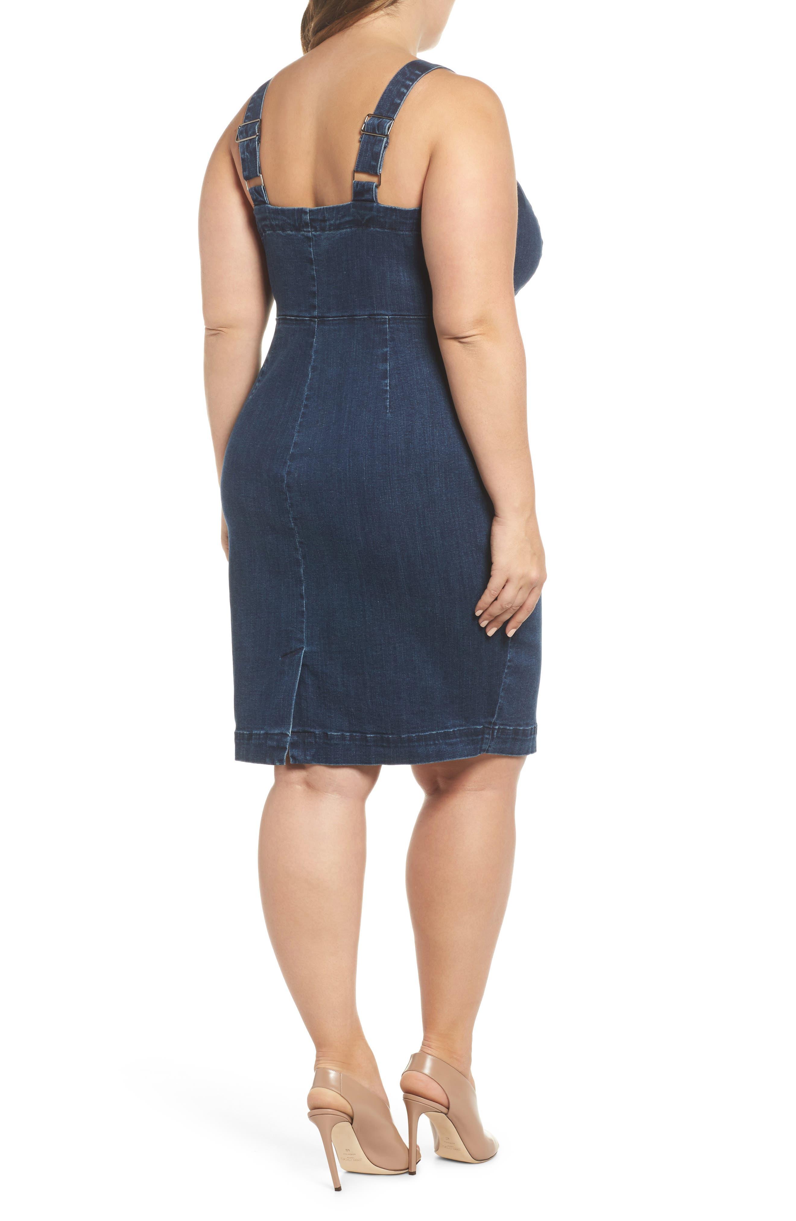 Denim Body-Con Dress,                             Alternate thumbnail 2, color,                             401