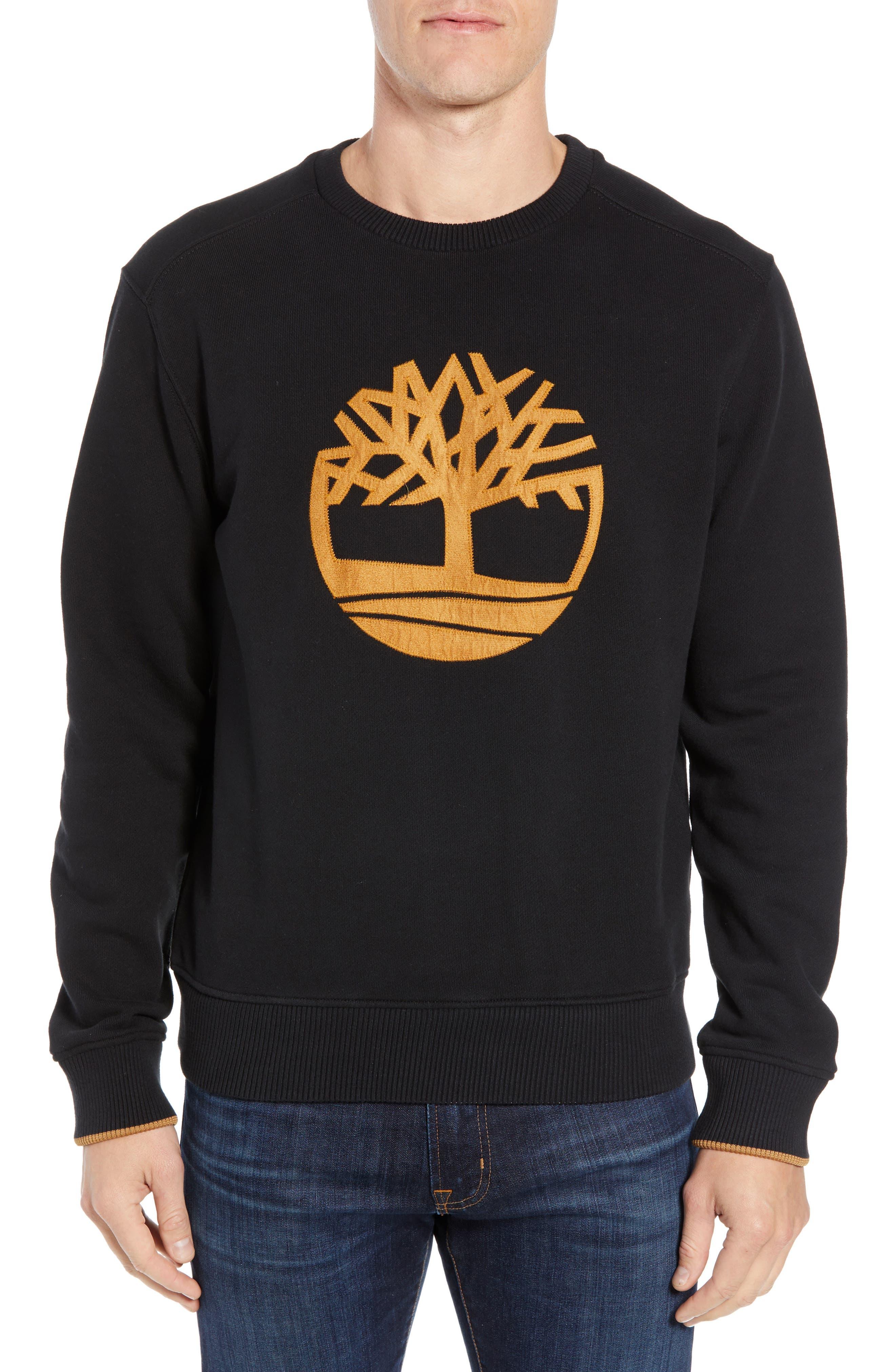 Elevated Logo Crewneck Sweatshirt,                         Main,                         color, BLACK