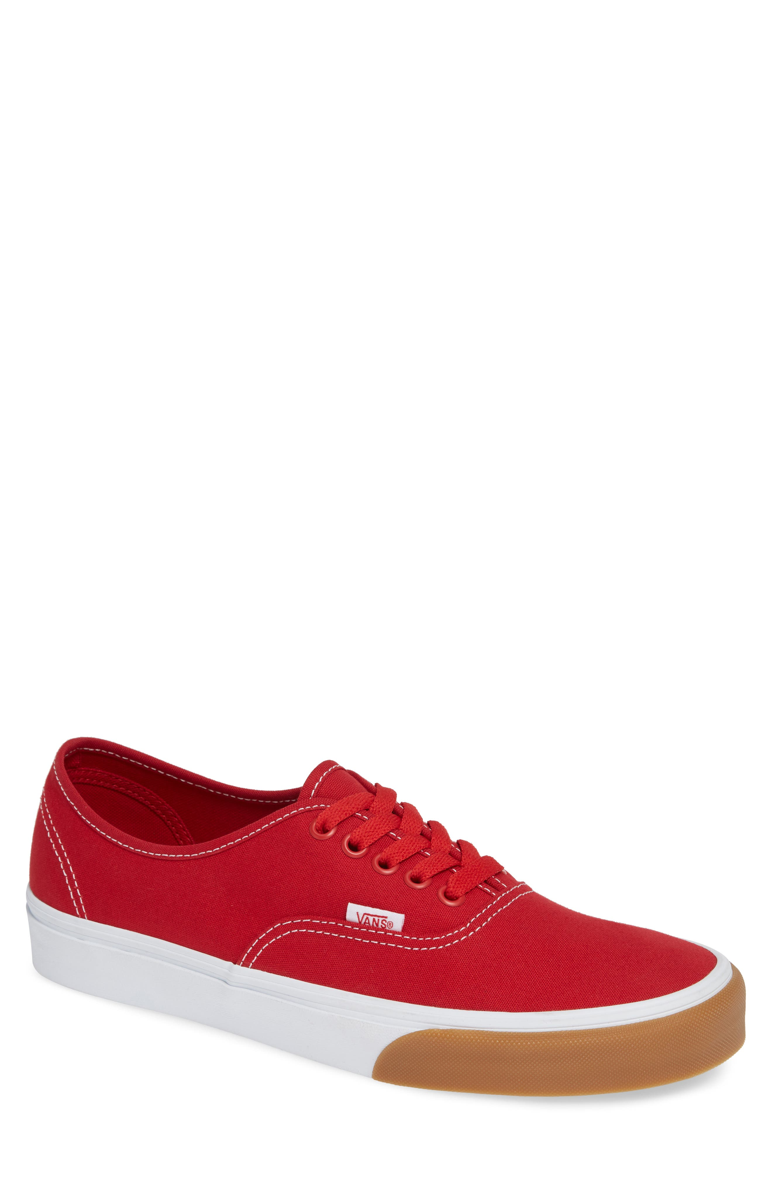 VANS,                             Authentic Gum Bumper Sneaker,                             Main thumbnail 1, color,                             RED/ TRUE WHITE