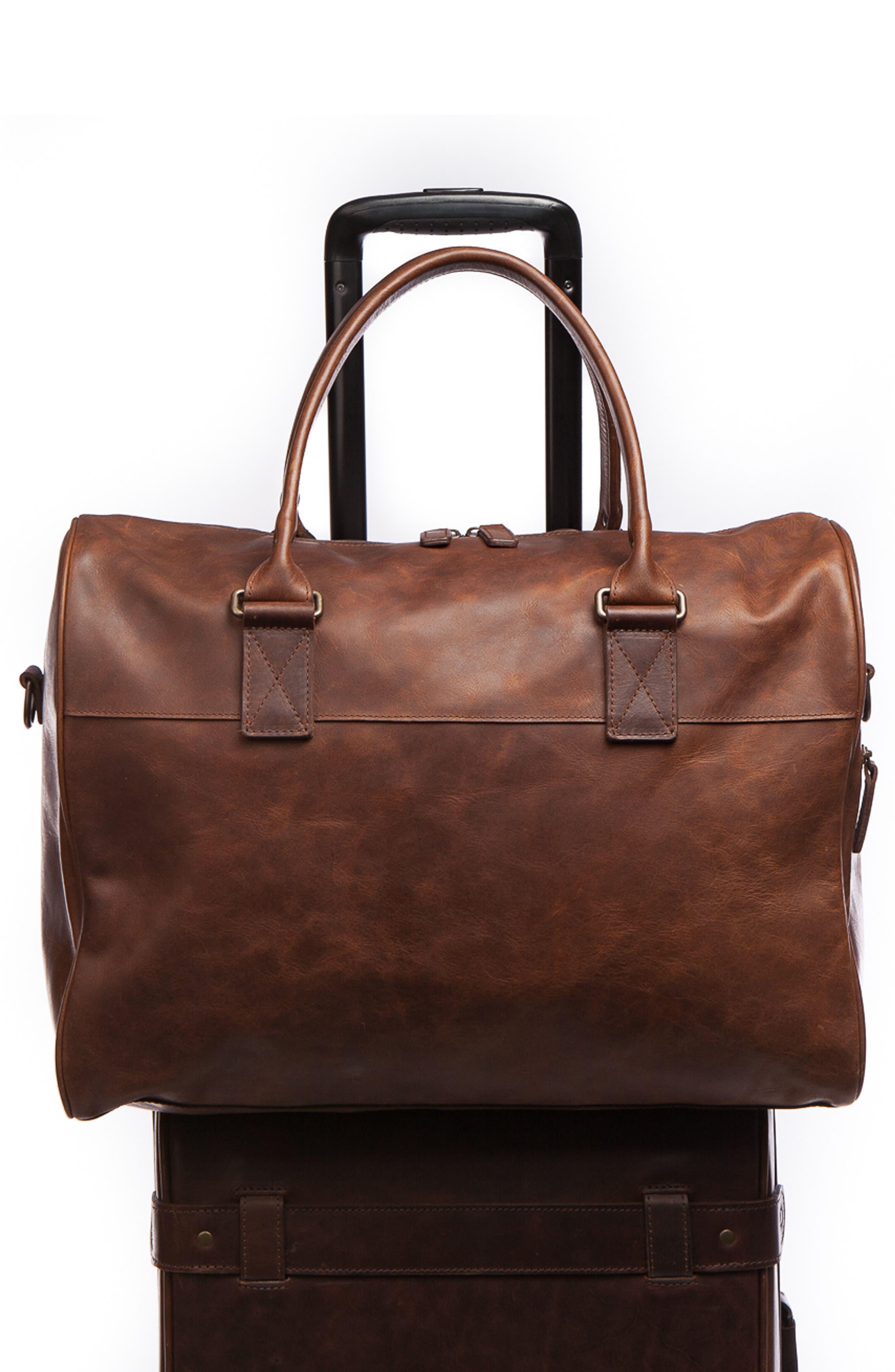 Booker Leather Duffel Bag,                             Alternate thumbnail 4, color,                             BALDWIN OAK