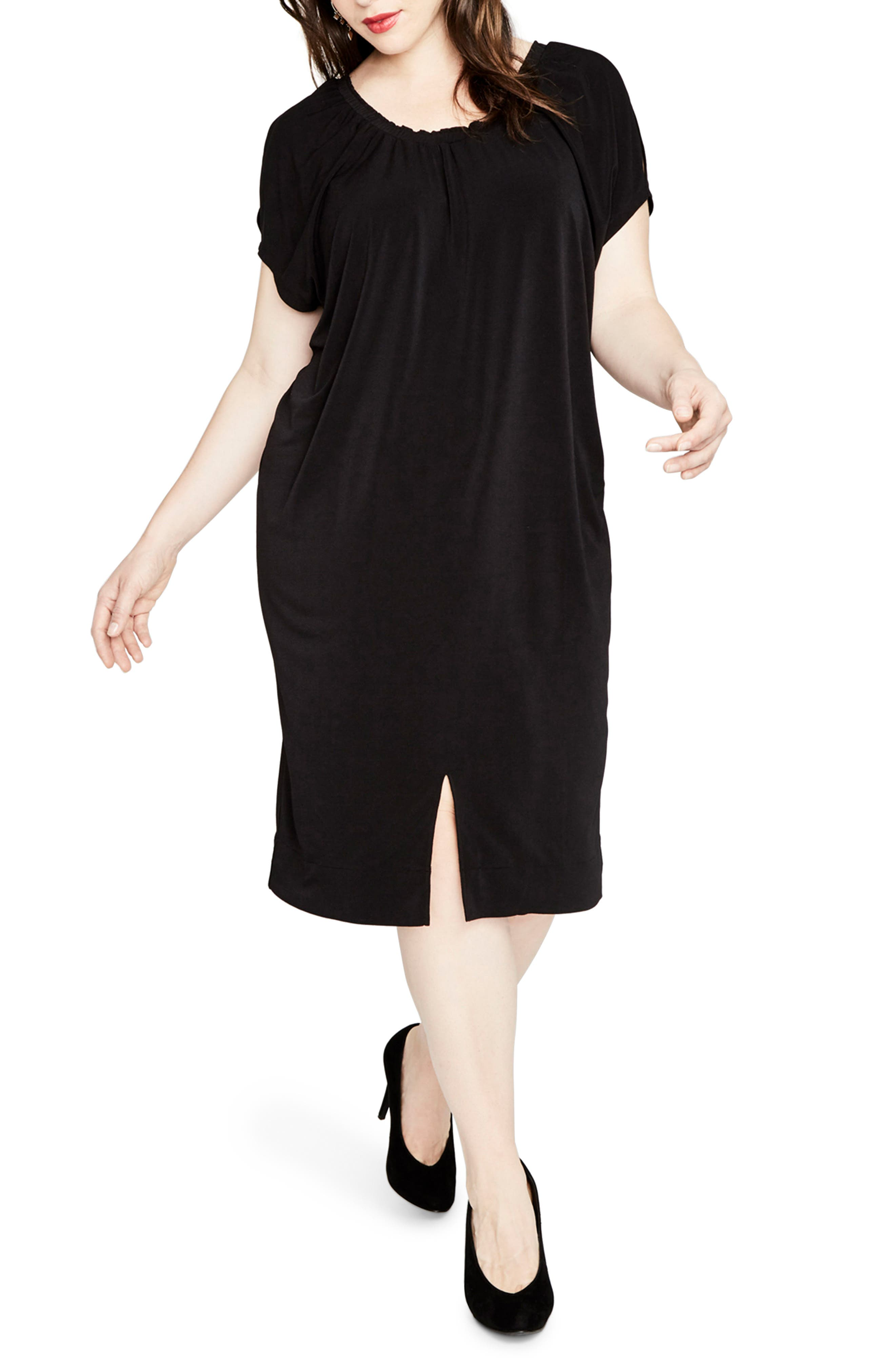 Gathered Caftan Dress,                         Main,                         color, 001