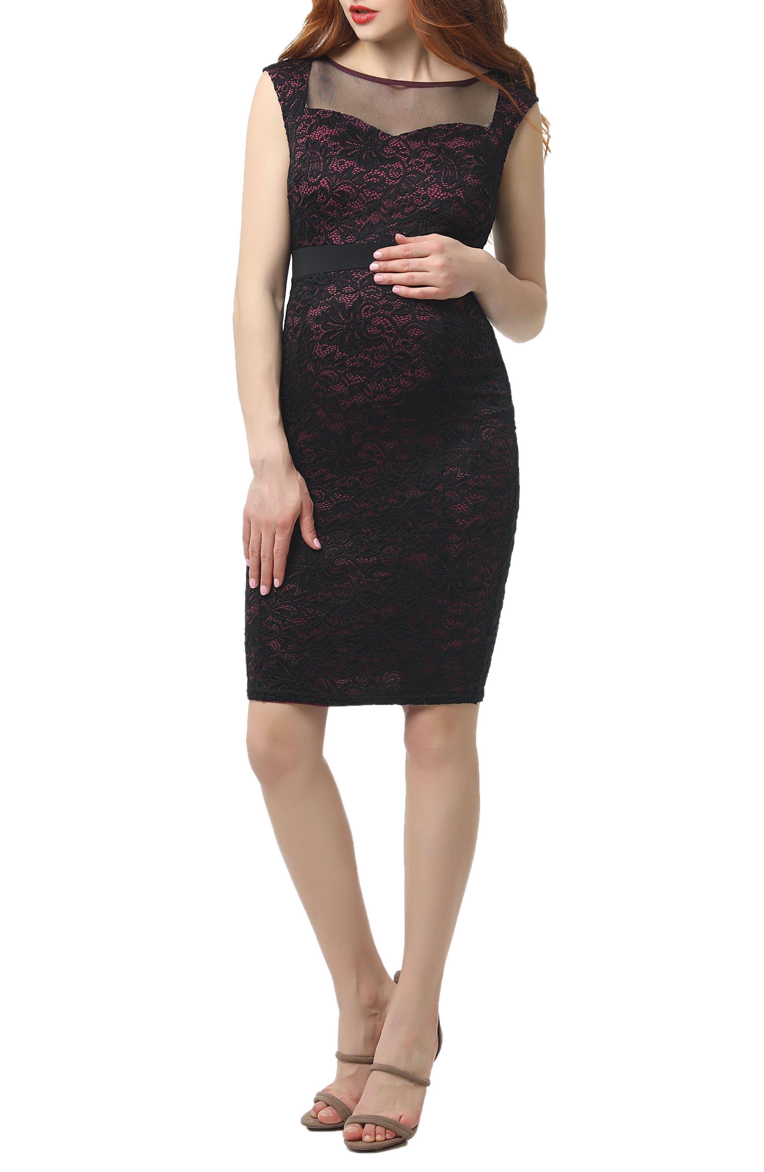 Kimi And Kai Violet Lace Body-Con Maternity Dress, Black