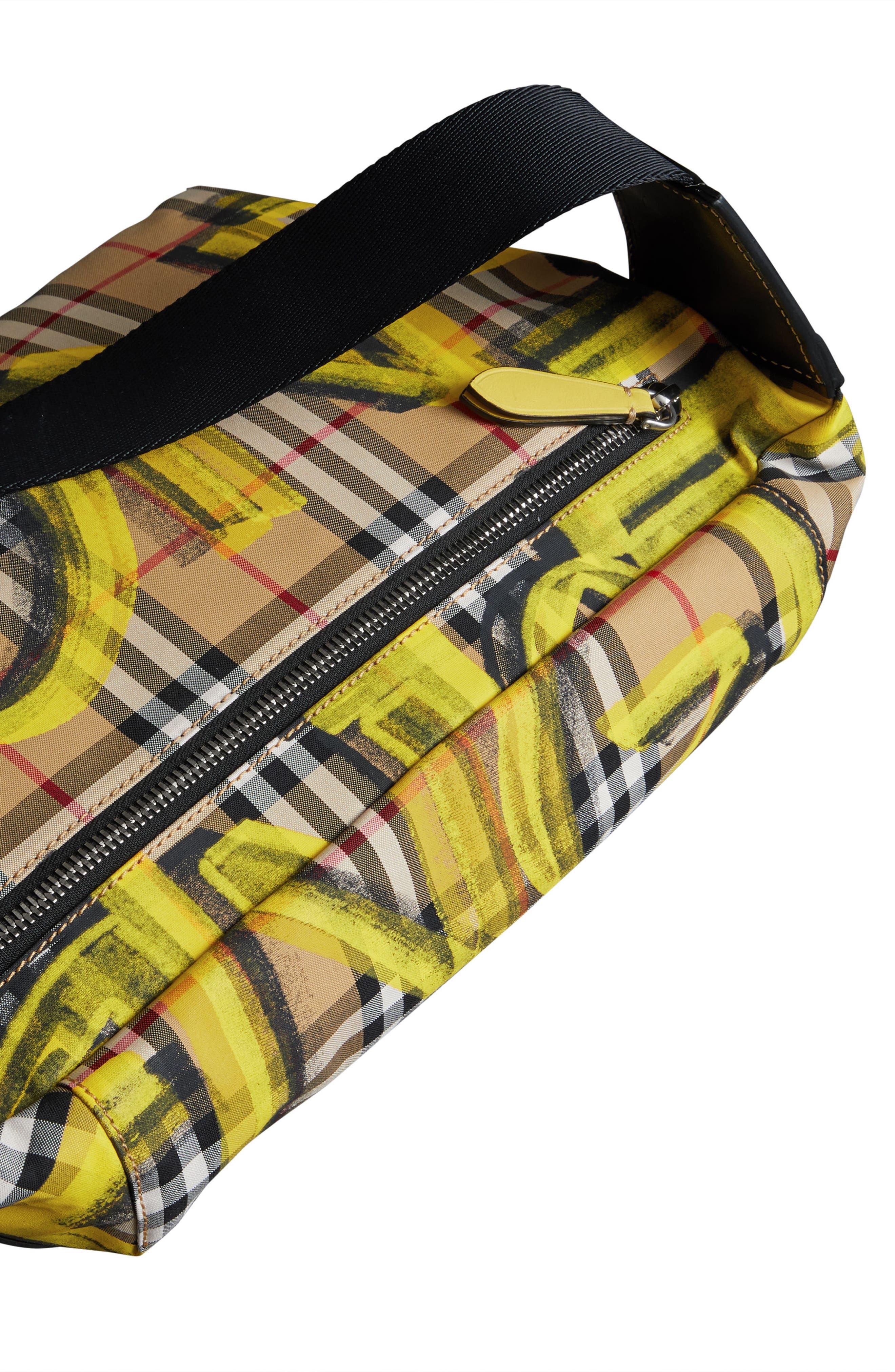 Large Sonny Graffiti Check Canvas Bum Bag,                             Alternate thumbnail 7, color,