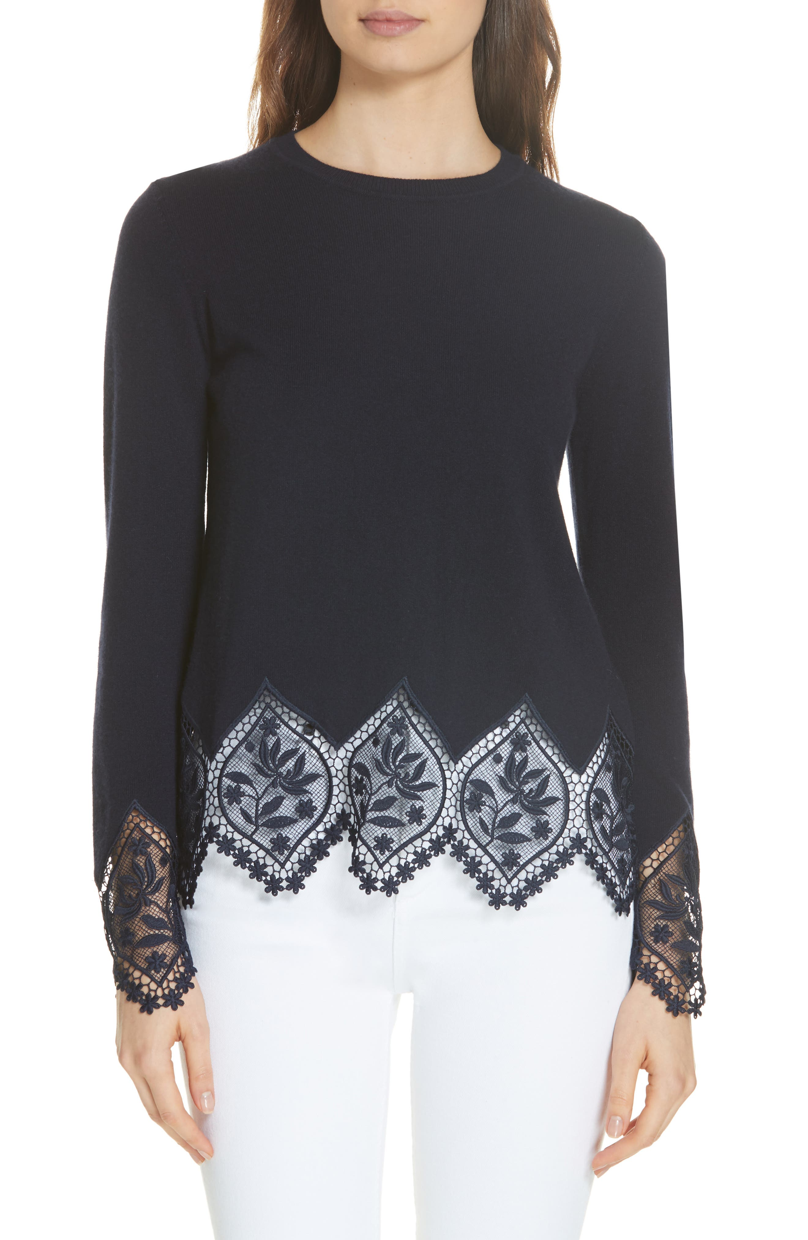 Ted Baker London Aylex Lace Detail Wool Cashmere Blend Sweater, Blue