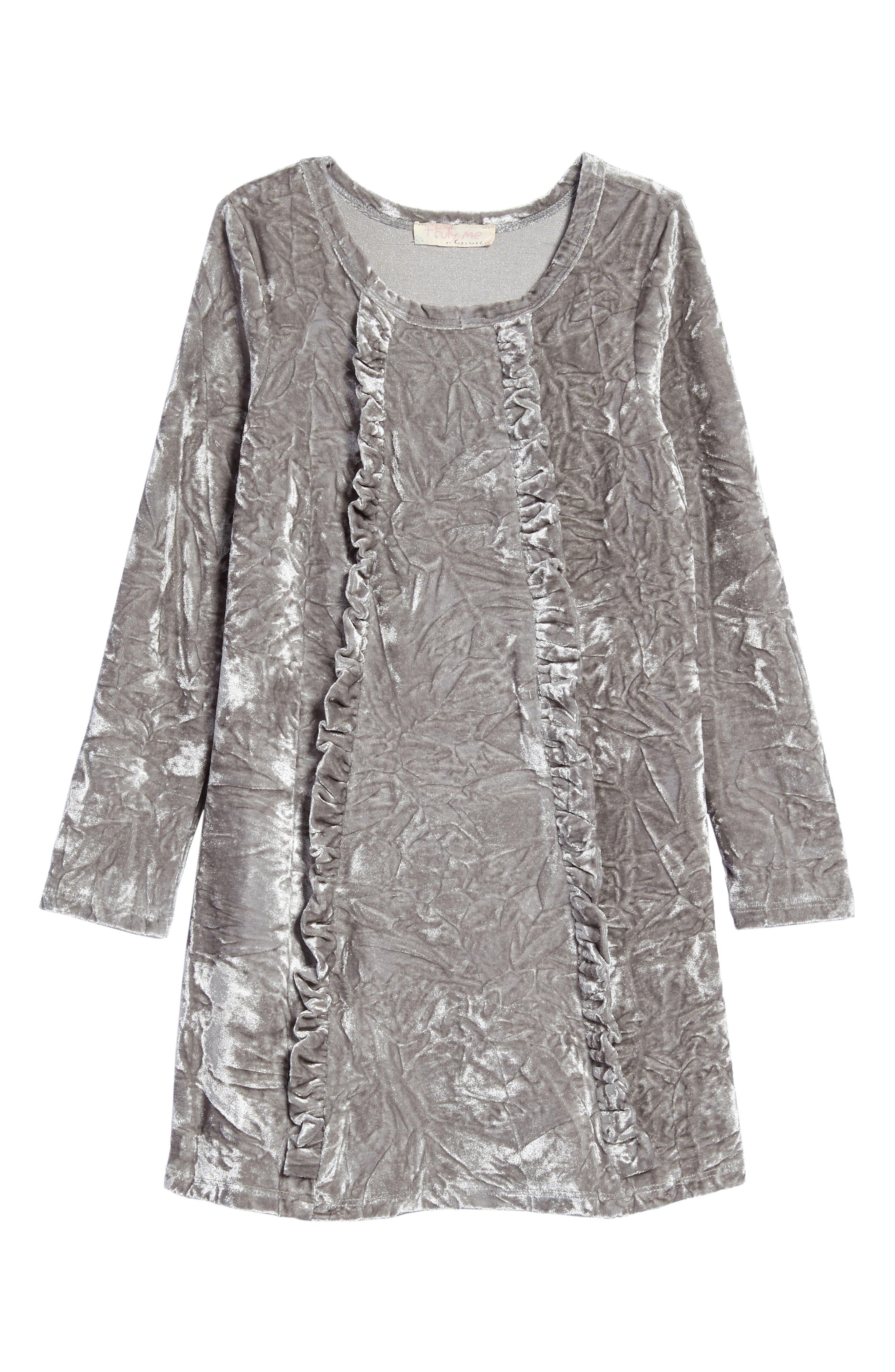 Ruffle Velvet Dress,                             Main thumbnail 1, color,                             049