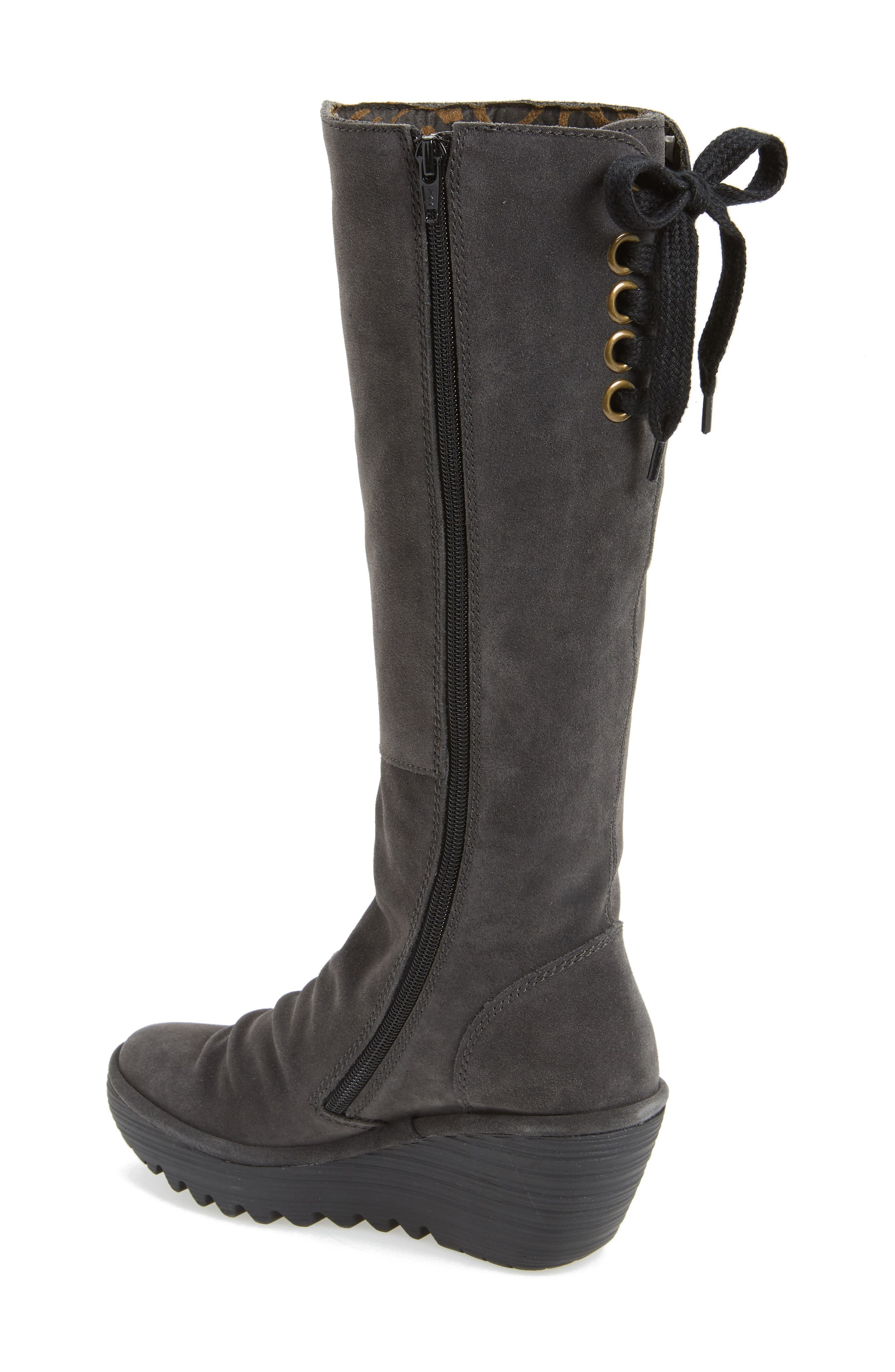 'Yust' Knee High Platform Wedge Boot,                             Alternate thumbnail 2, color,                             002