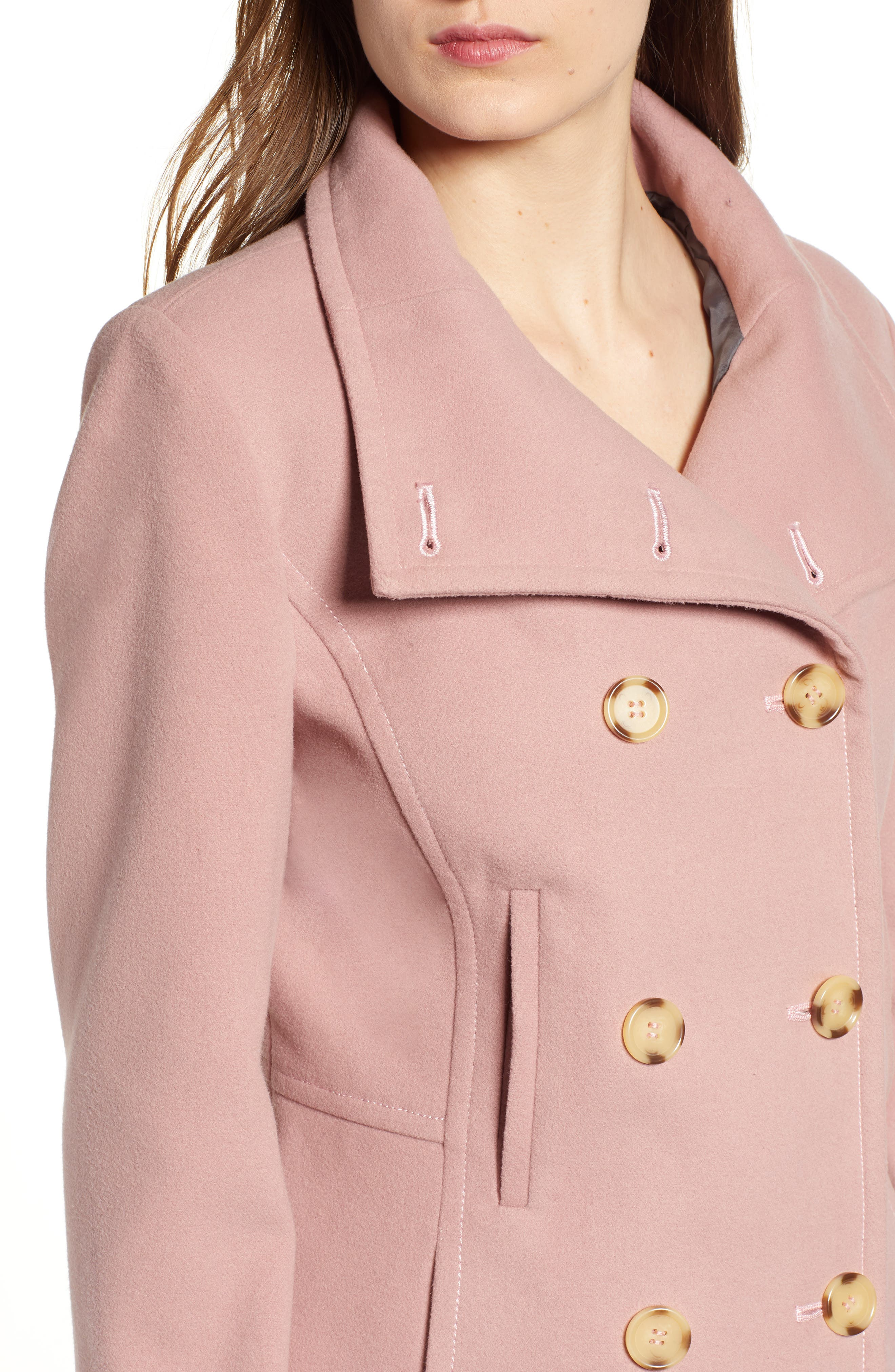 THREAD & SUPPLY,                             Double Breasted Peacoat,                             Alternate thumbnail 5, color,                             BLUSH