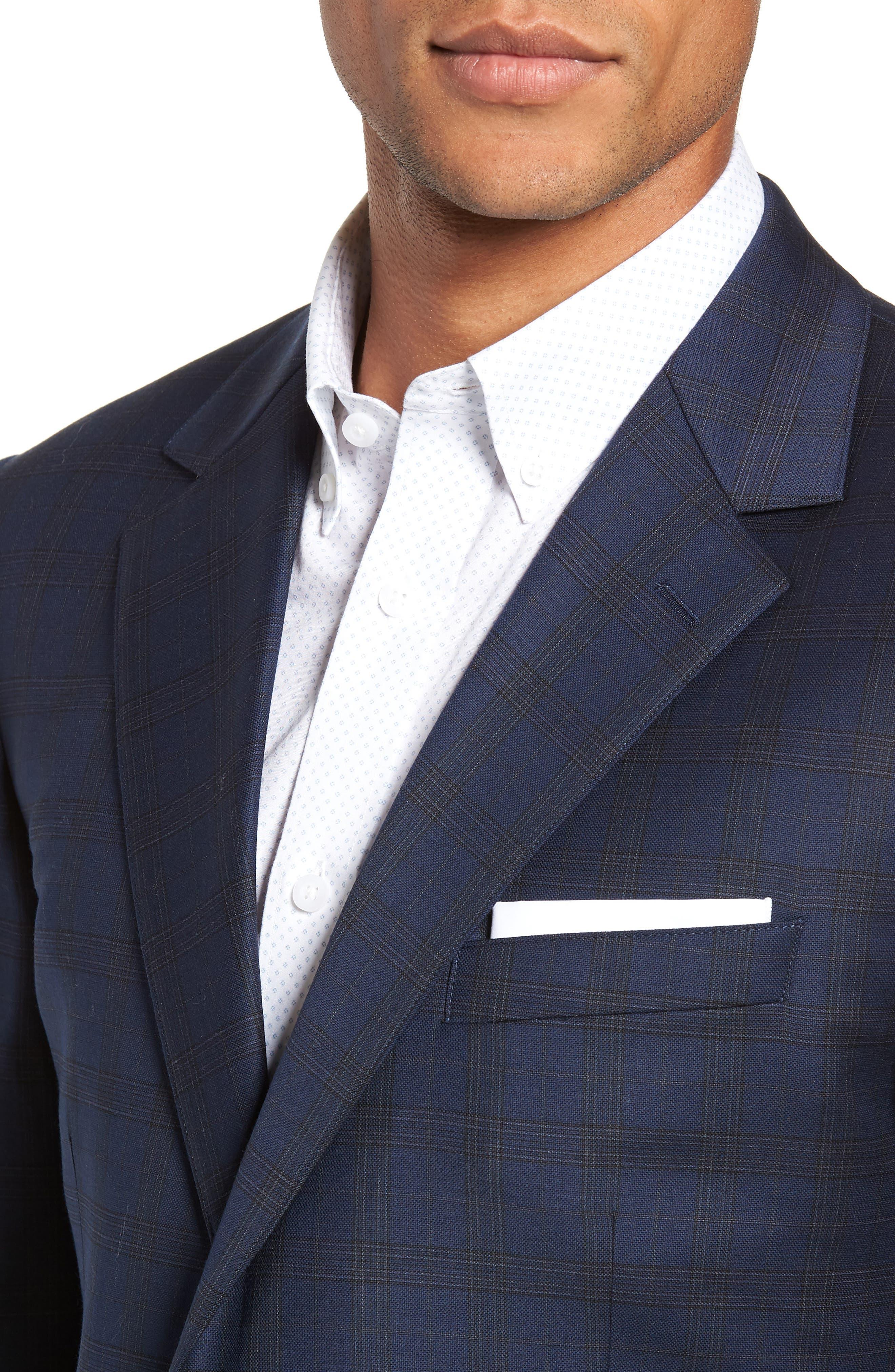 Jetsetter Slim Fit Stretch Wool Sport Coat,                             Alternate thumbnail 3, color,                             SUBTLE NAVY PLAID