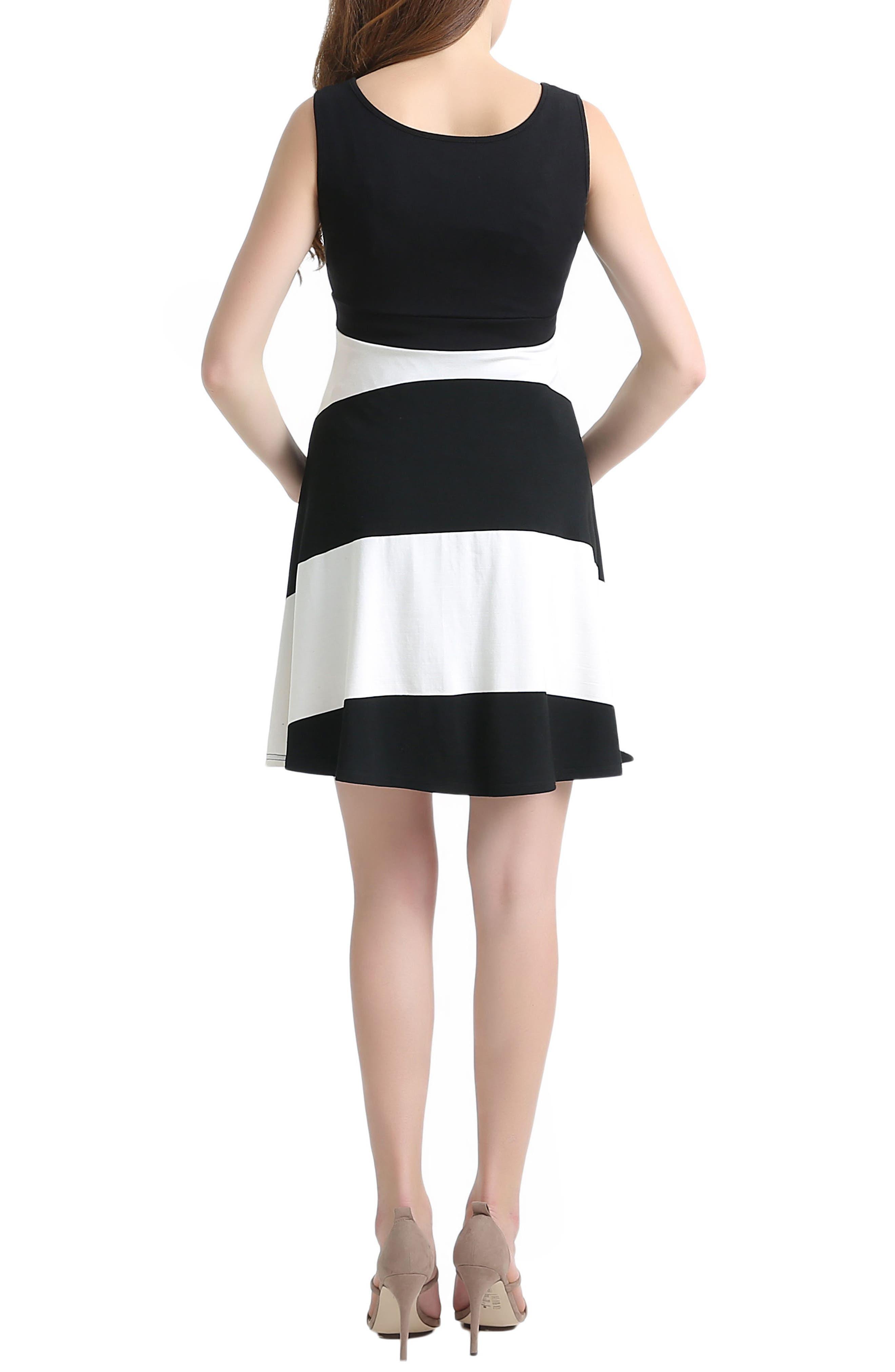Amanda Stripe Maternity Babydoll Dress,                             Alternate thumbnail 2, color,                             001