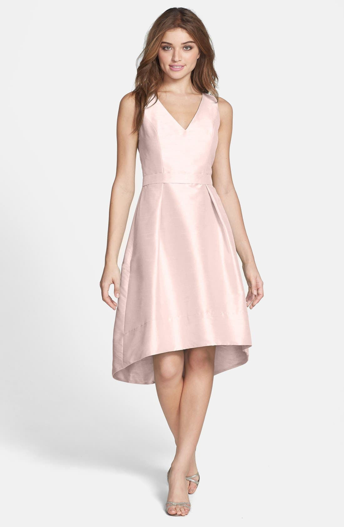 Satin High/Low Fit & Flare Dress,                             Alternate thumbnail 3, color,                             PEARL PINK