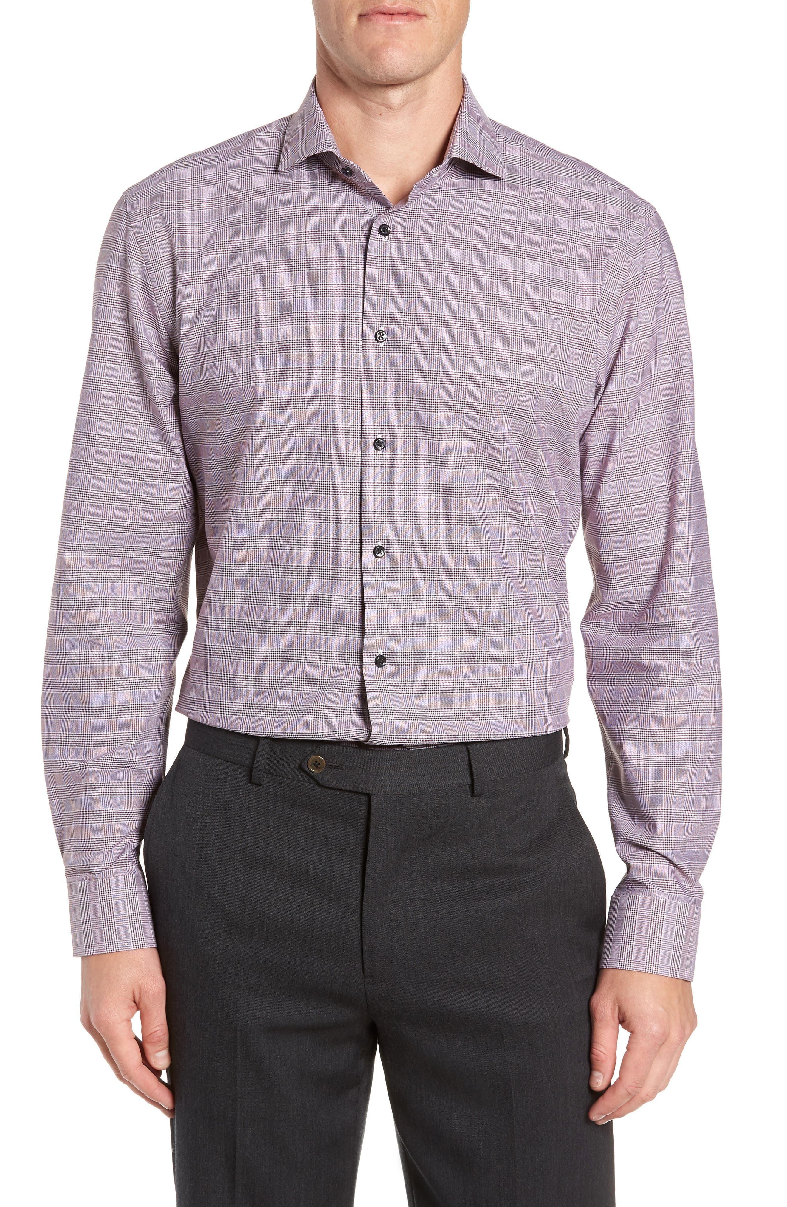 Tech-Smart Trim Fit Stretch Plaid Dress Shirt,                             Main thumbnail 4, color,