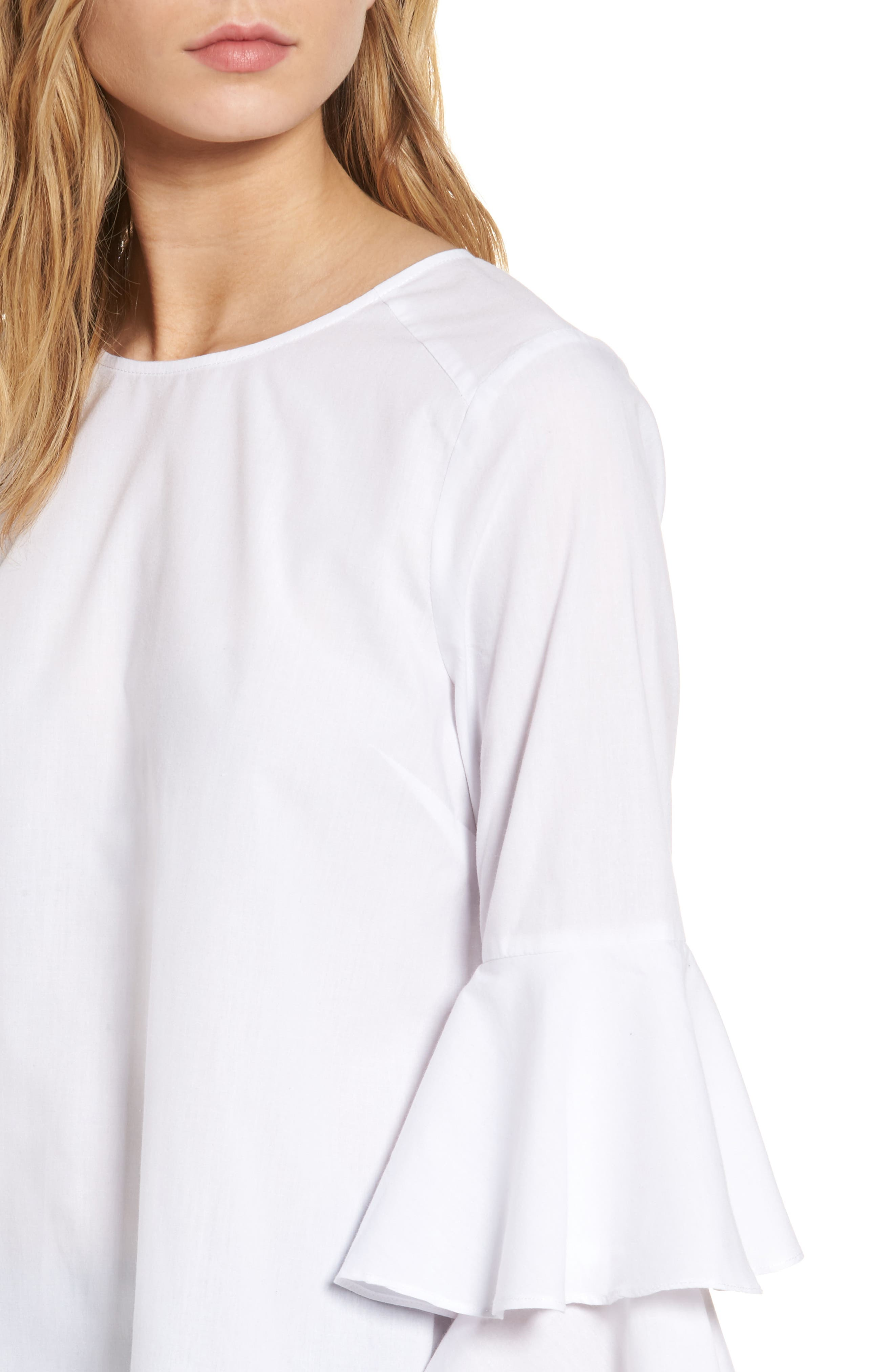 Bell Sleeve Poplin Top,                             Alternate thumbnail 4, color,                             100