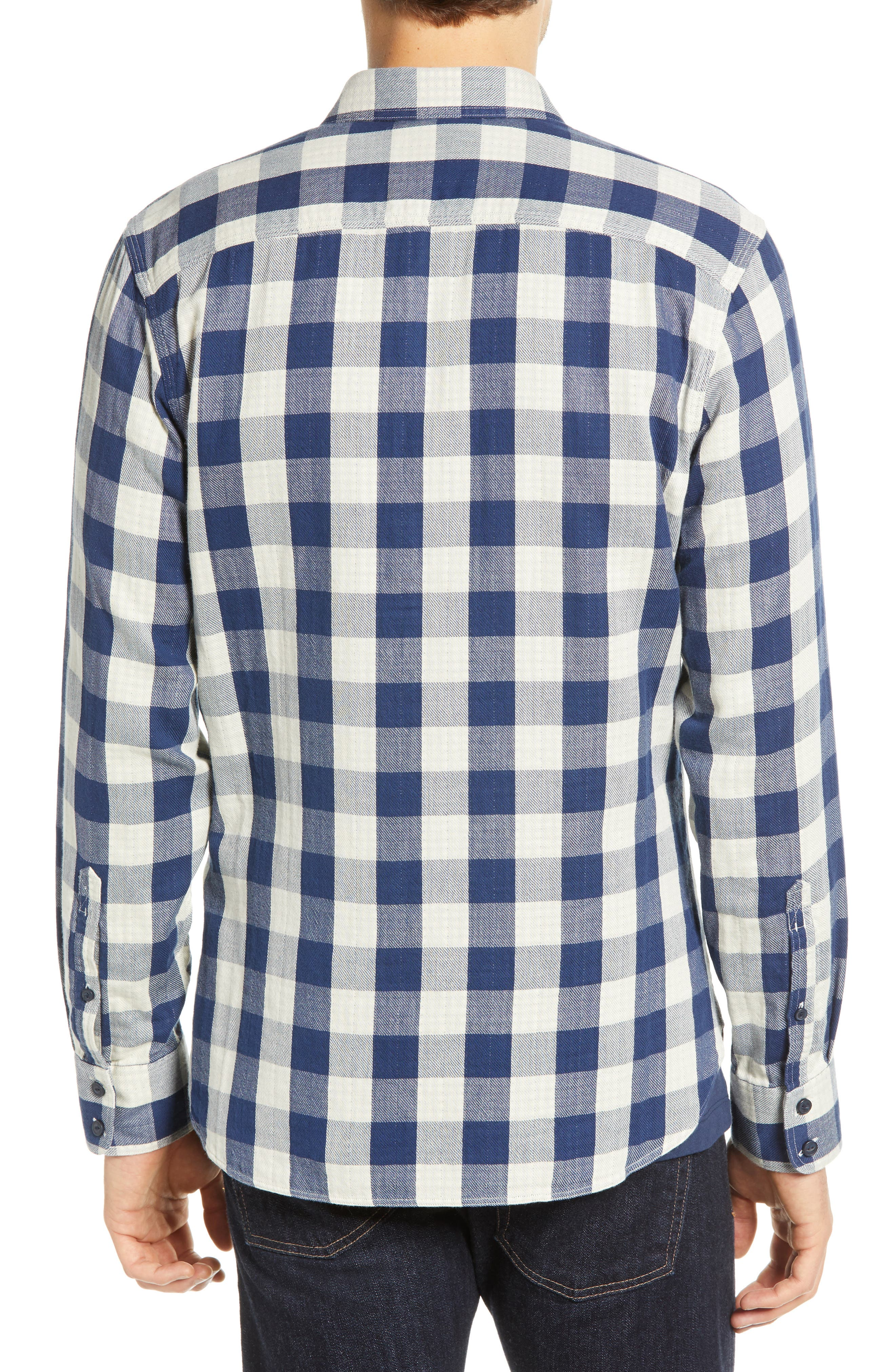 Utility Trim Fit Duofold Sport Shirt,                             Alternate thumbnail 3, color,                             NAVY WHITE BUFFALO GINGHAM
