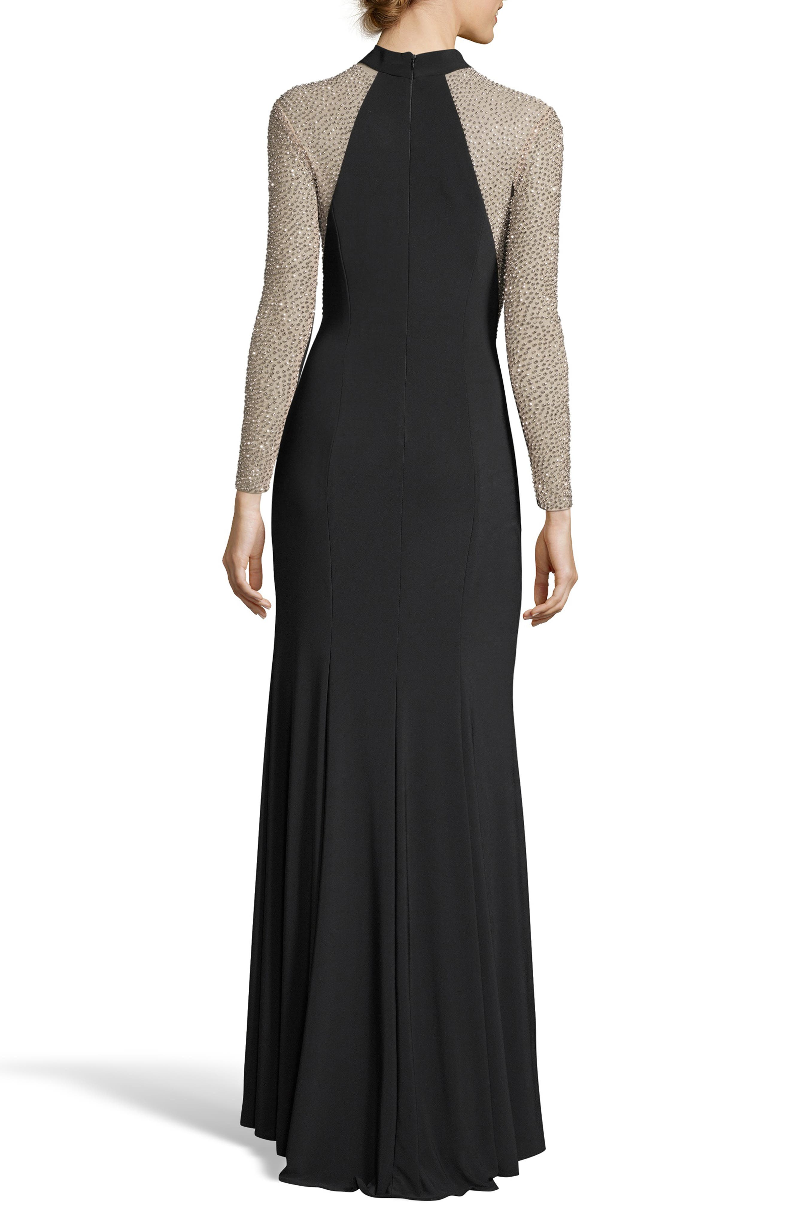 Ity Bead Embellished Jersey Gown,                             Alternate thumbnail 2, color,                             BLACK/ NUDE/ SILVER