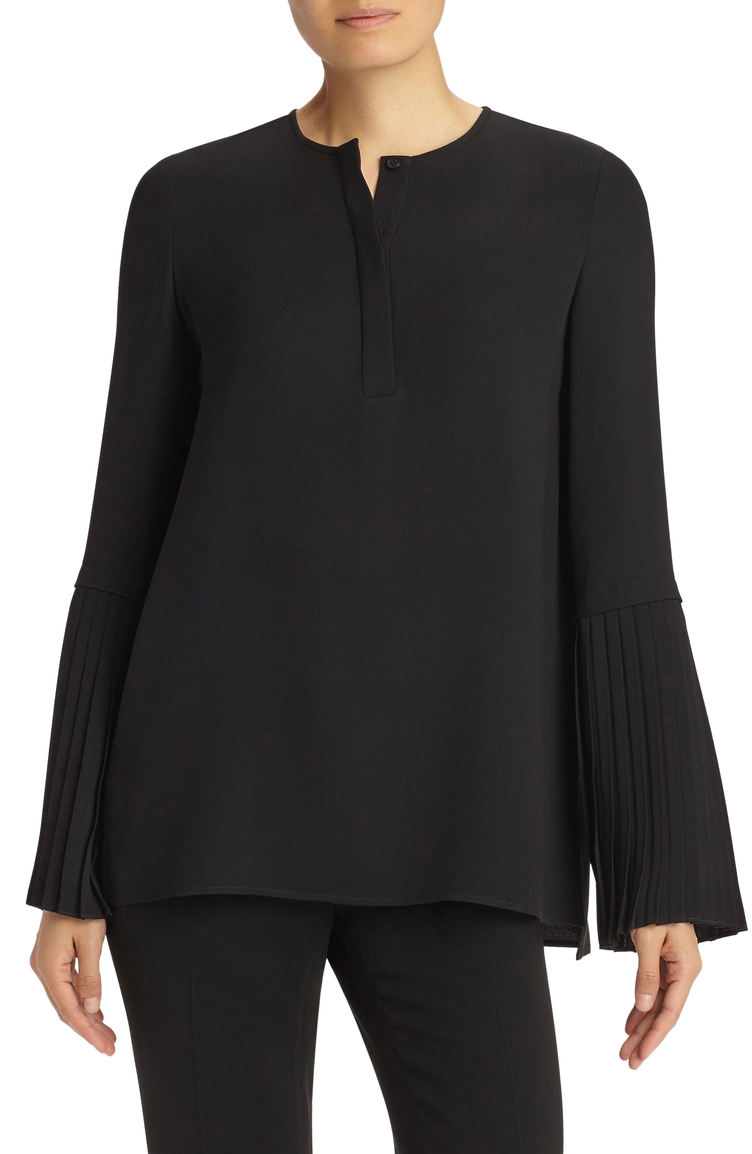 Shellie Pleated Sleeve Blouse,                         Main,                         color, 001