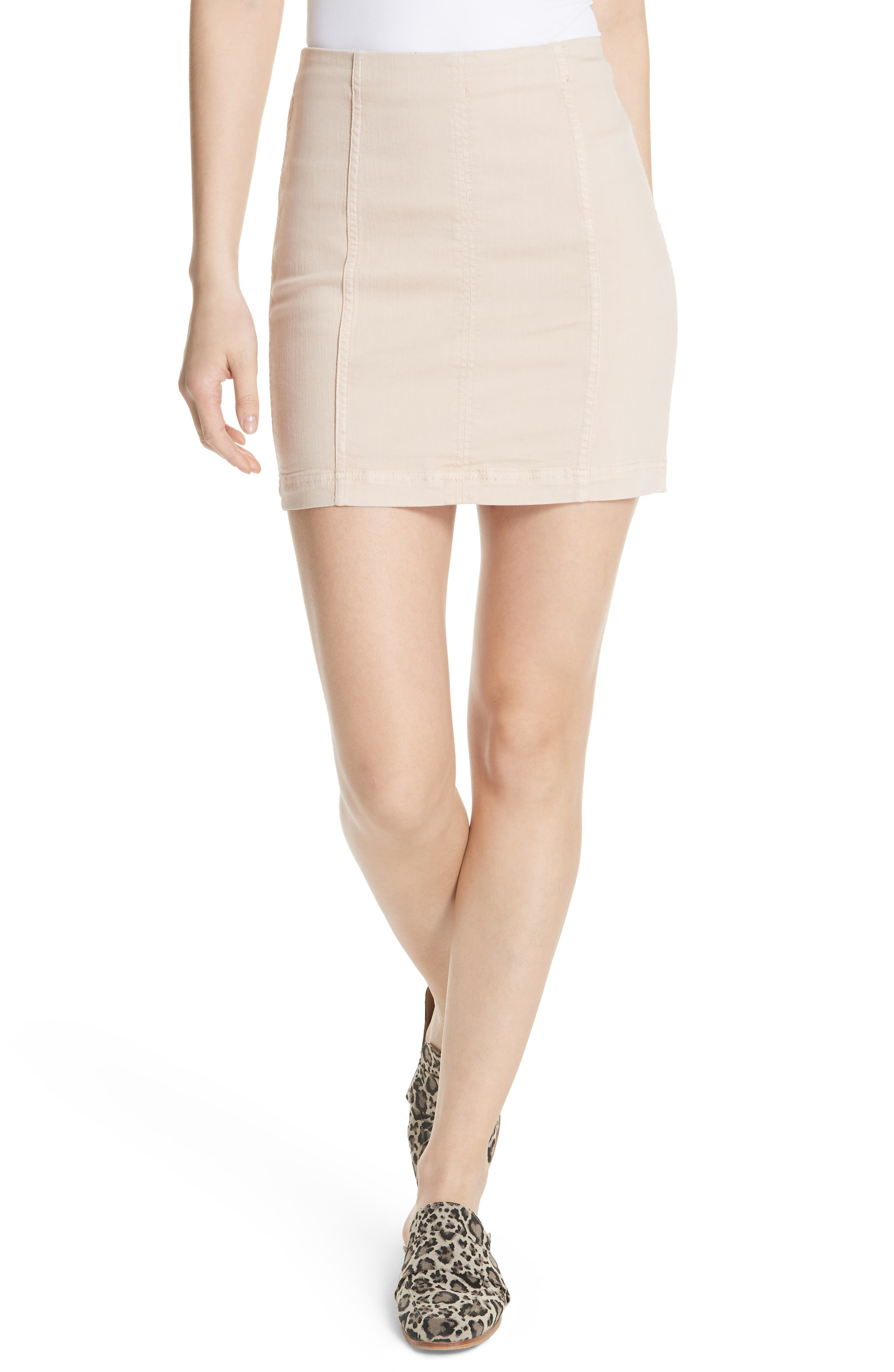 We the Free by Free People Modern Miniskirt,                             Main thumbnail 1, color,                             STONE