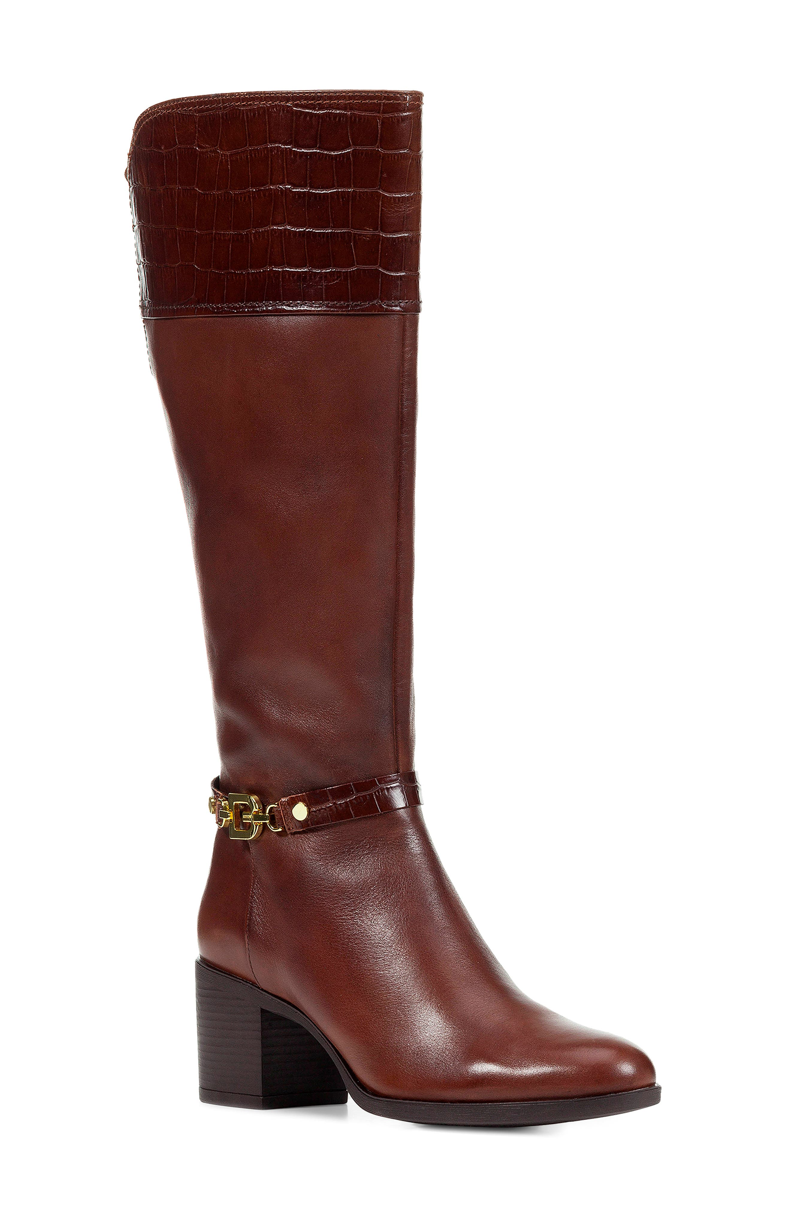 GEOX Glynna Knee High Boot in Brown Leather