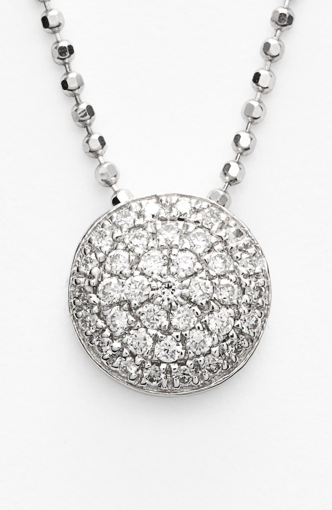 'Eclipse' Pavé Diamond Pendant Necklace,                             Alternate thumbnail 3, color,                             710