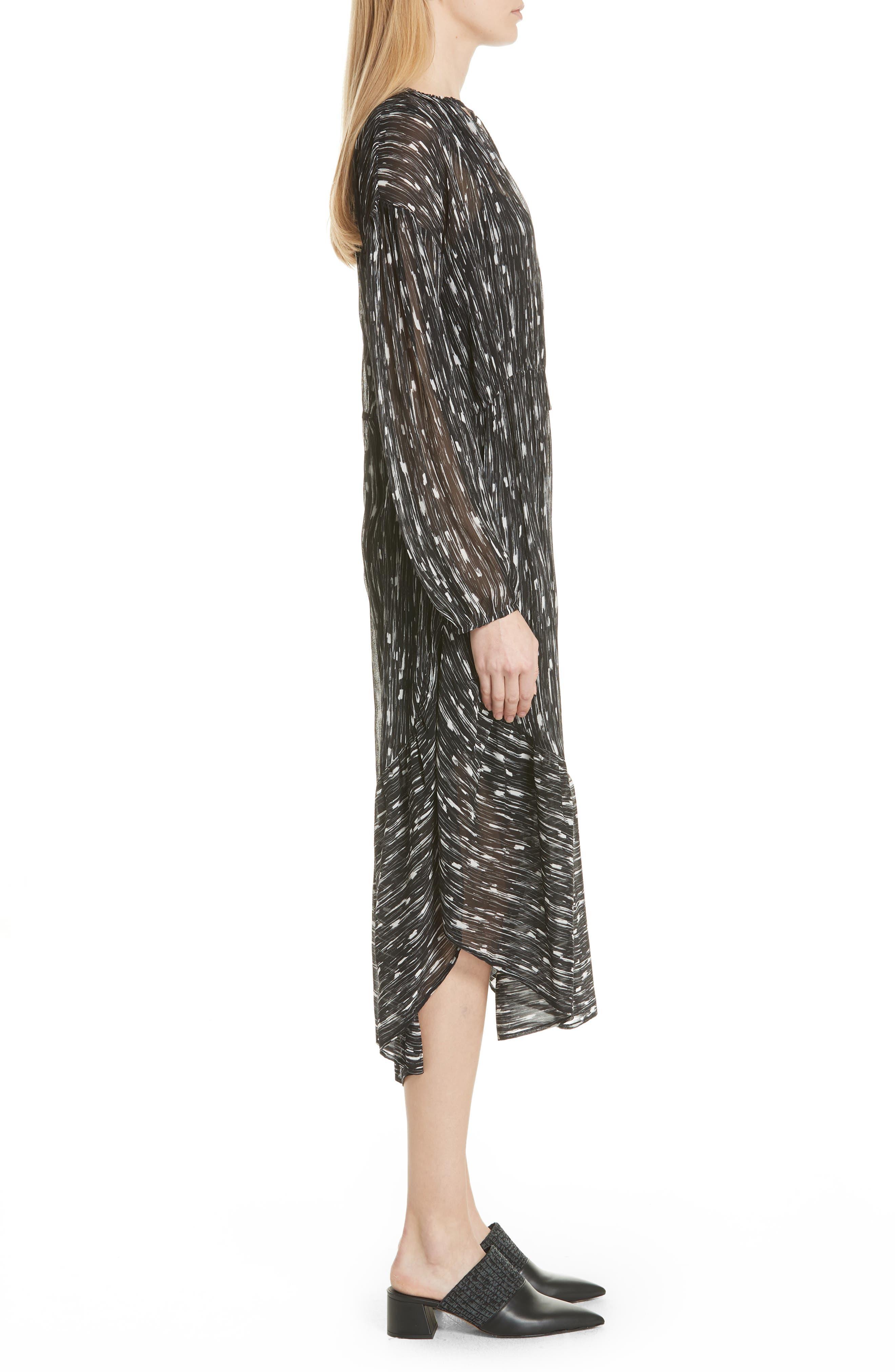VINCE,                             Brushstroke Silk Chiffon Dress,                             Alternate thumbnail 3, color,                             001