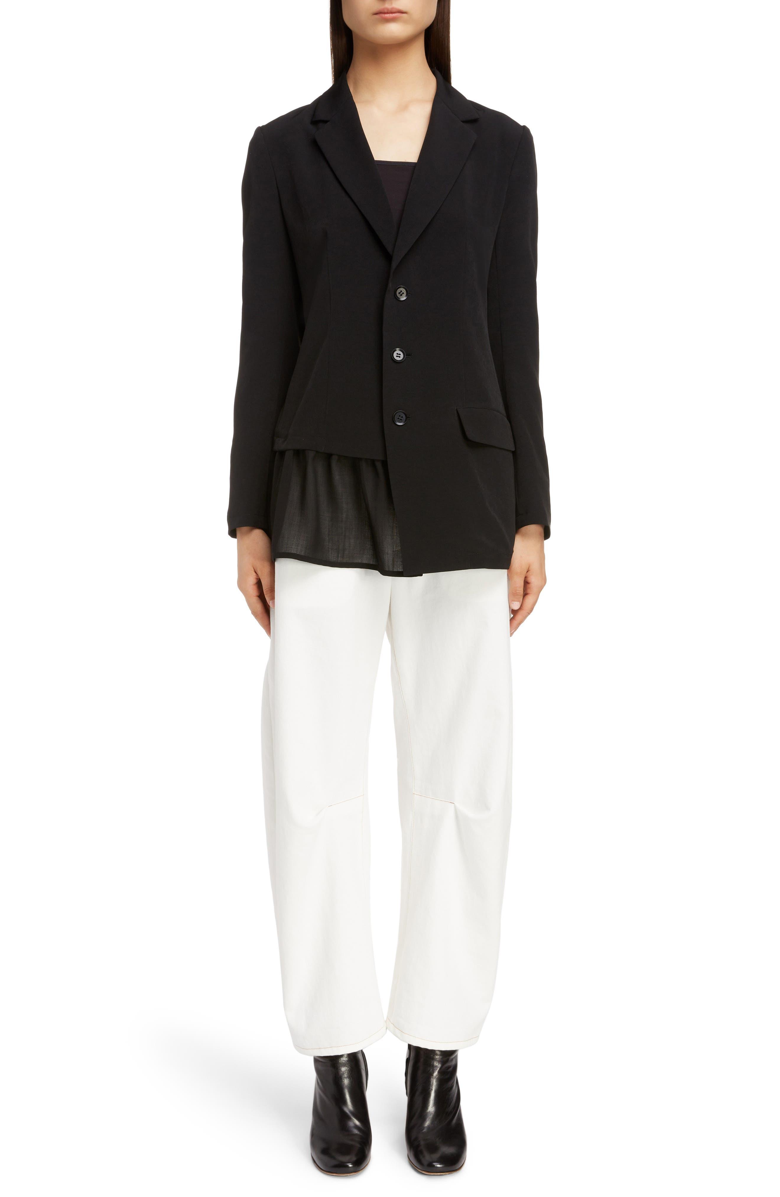 Asymmetrical Peplum Jacket,                             Alternate thumbnail 6, color,                             BLACK