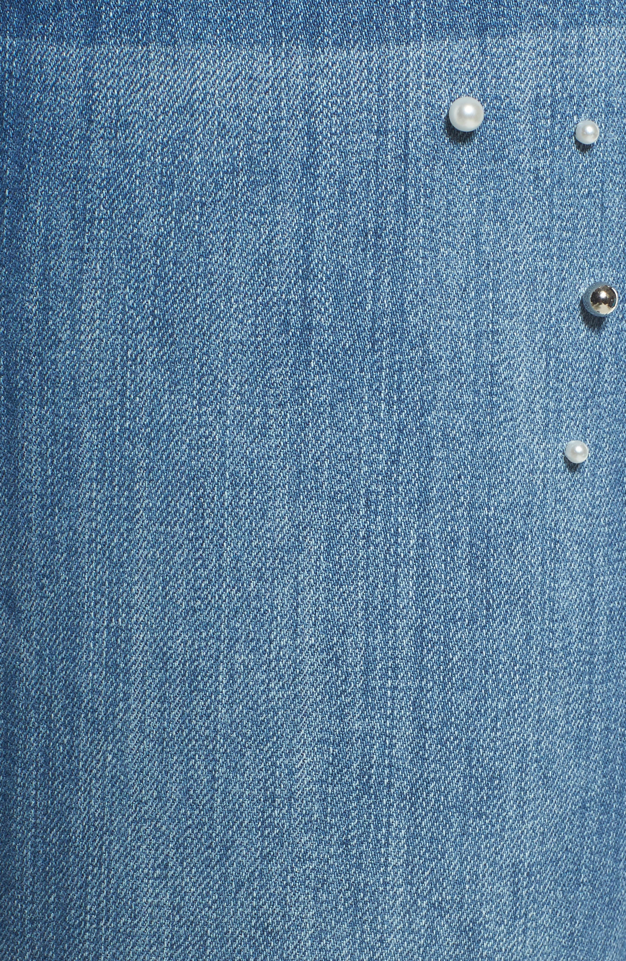 Pearl Detail Skinny Jeans,                             Alternate thumbnail 5, color,                             426