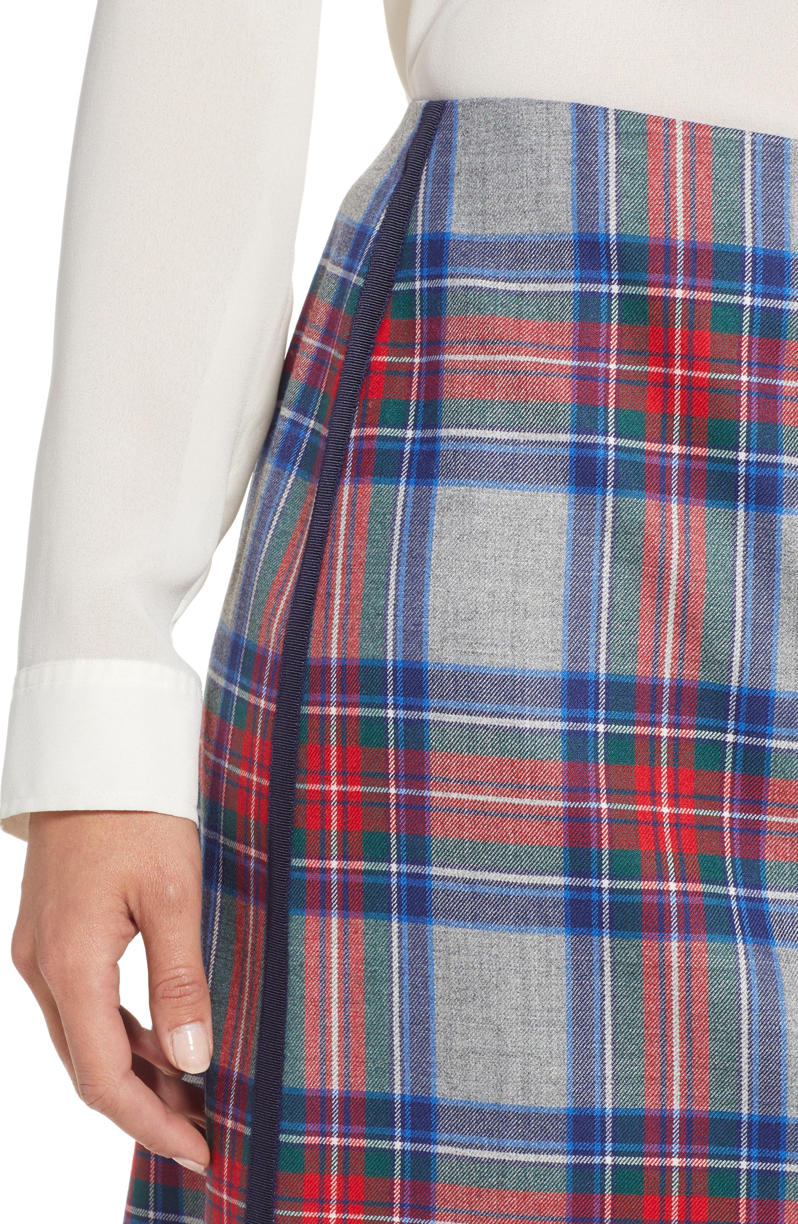 Jolly Plaid Miniskirt,                             Alternate thumbnail 4, color,                             GRAY HEATHER
