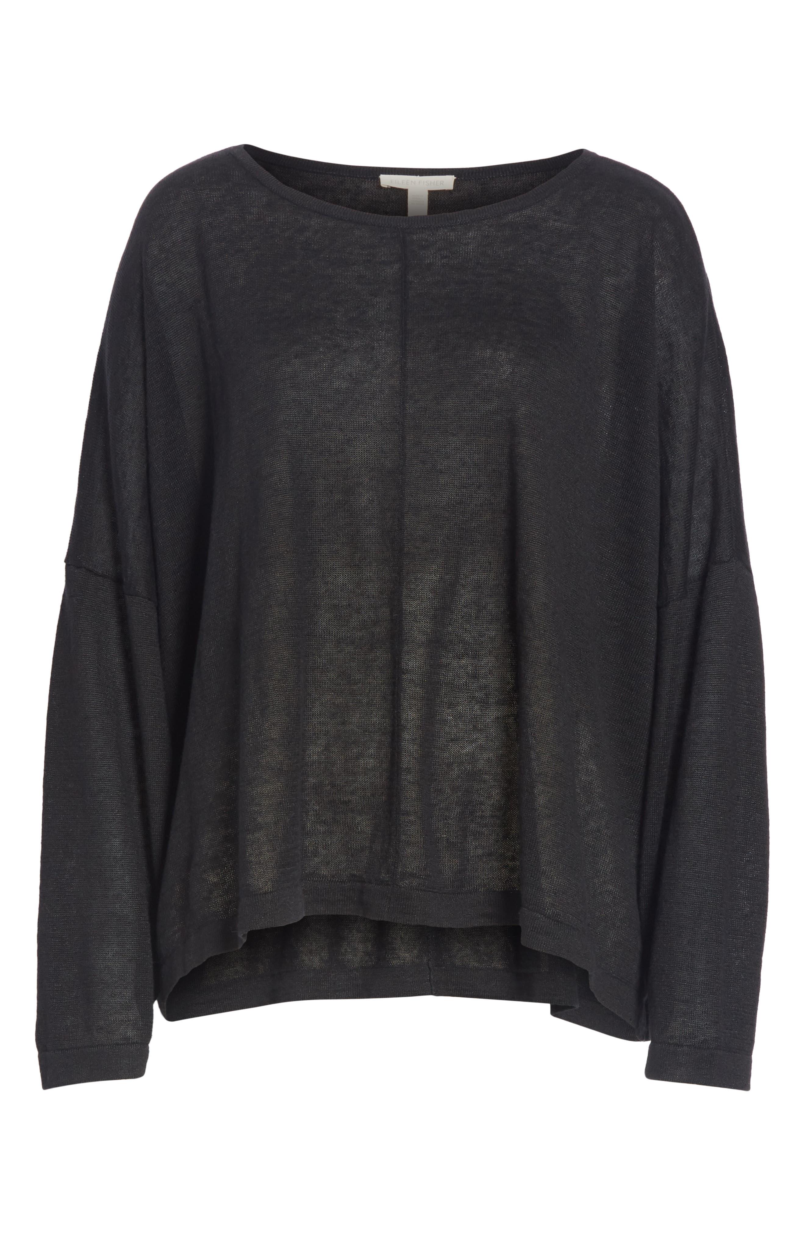 Boxy Organic Linen Sweater,                             Alternate thumbnail 6, color,                             BLACK