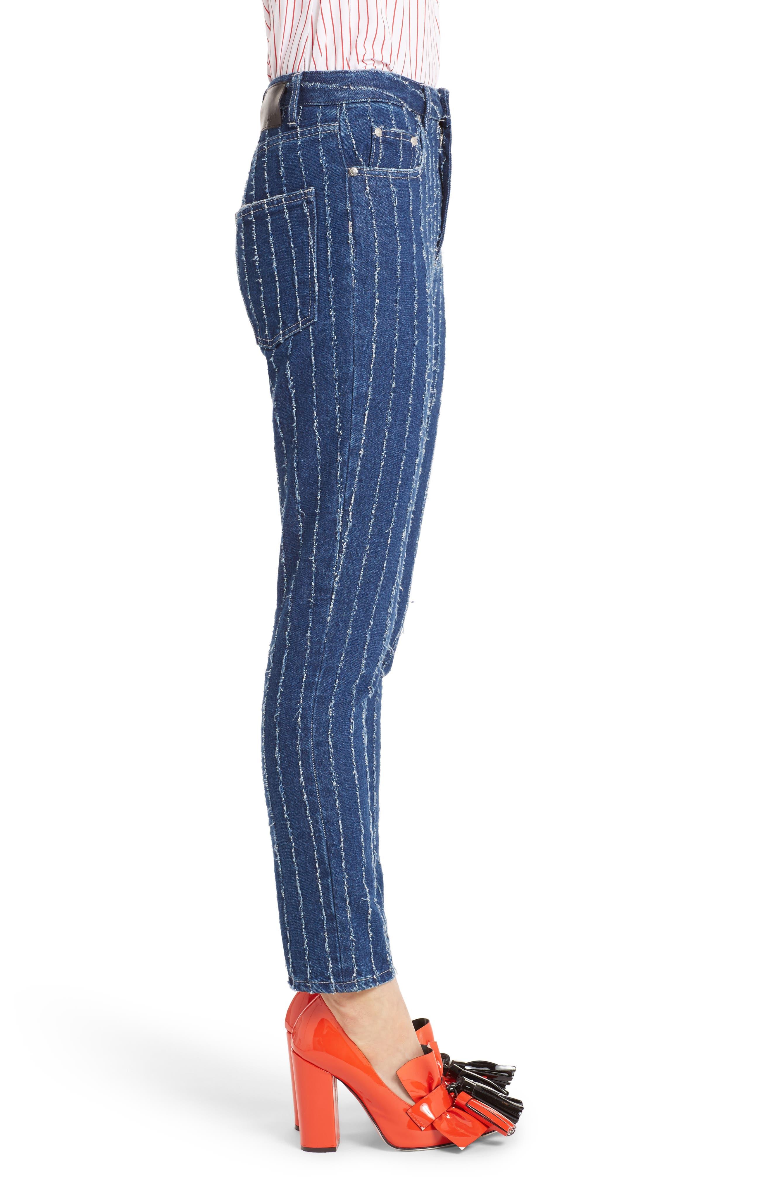 Stripe High Waist Jeans,                             Alternate thumbnail 3, color,                             400