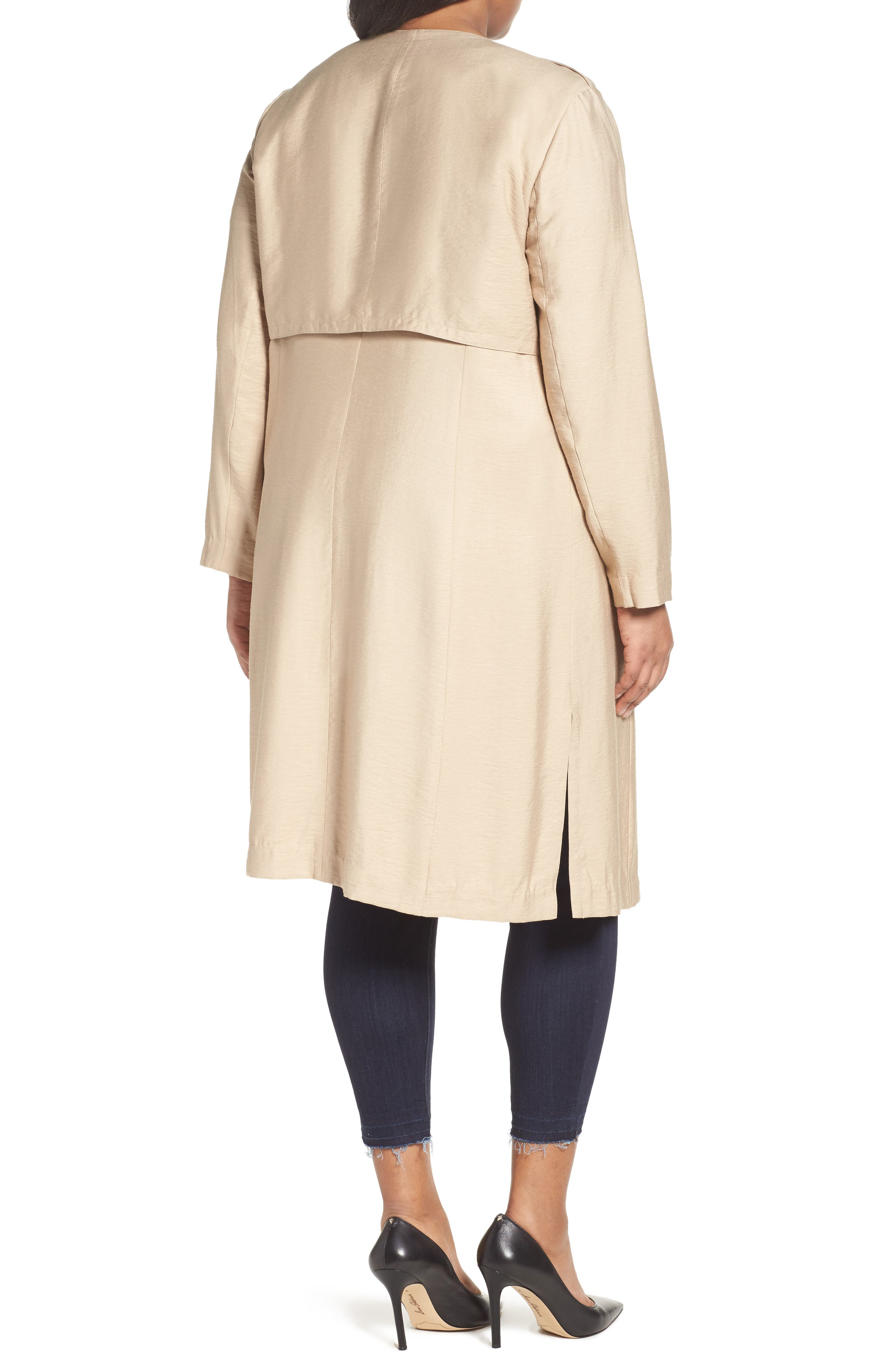 Long Open Front Trench Coat,                             Alternate thumbnail 6, color,