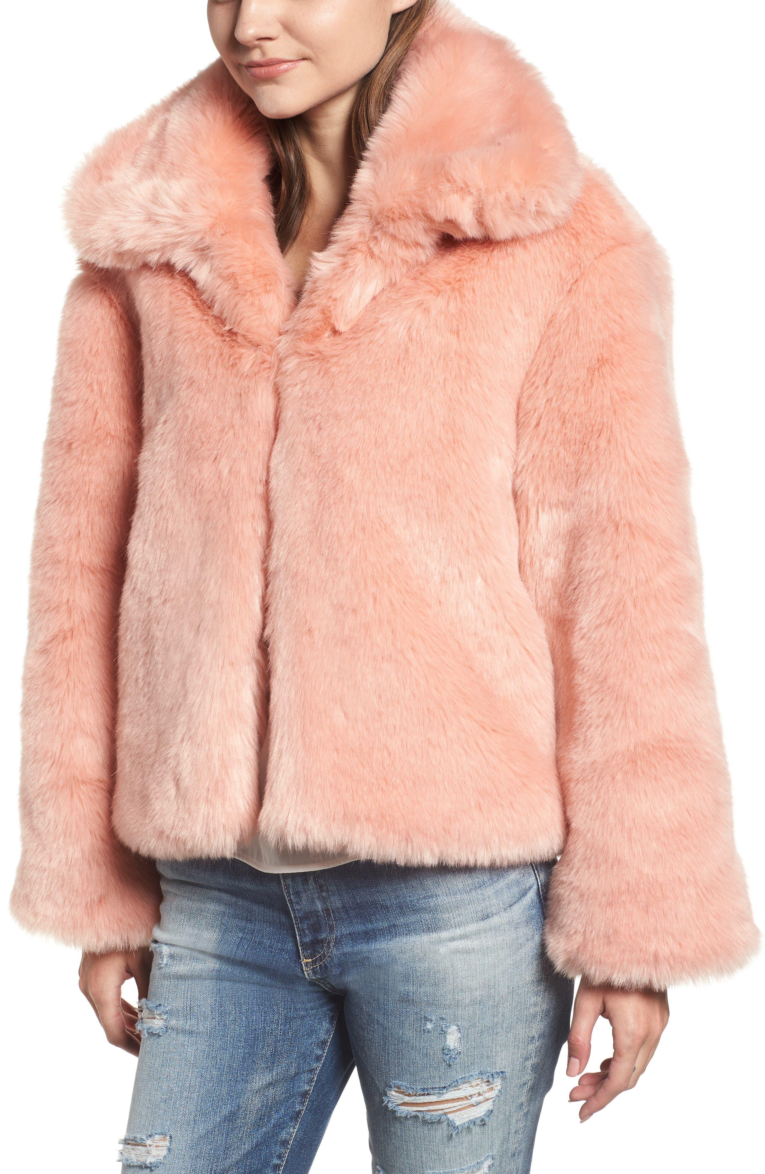 Boxy Faux Fur Coat,                             Alternate thumbnail 4, color,                             CHERRY BLOSSOM